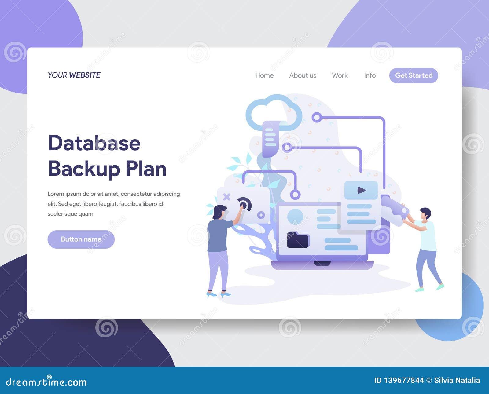 Landing page template of Database Backup Plan Illustration Concept. Modern flat design concept of web page design for website and