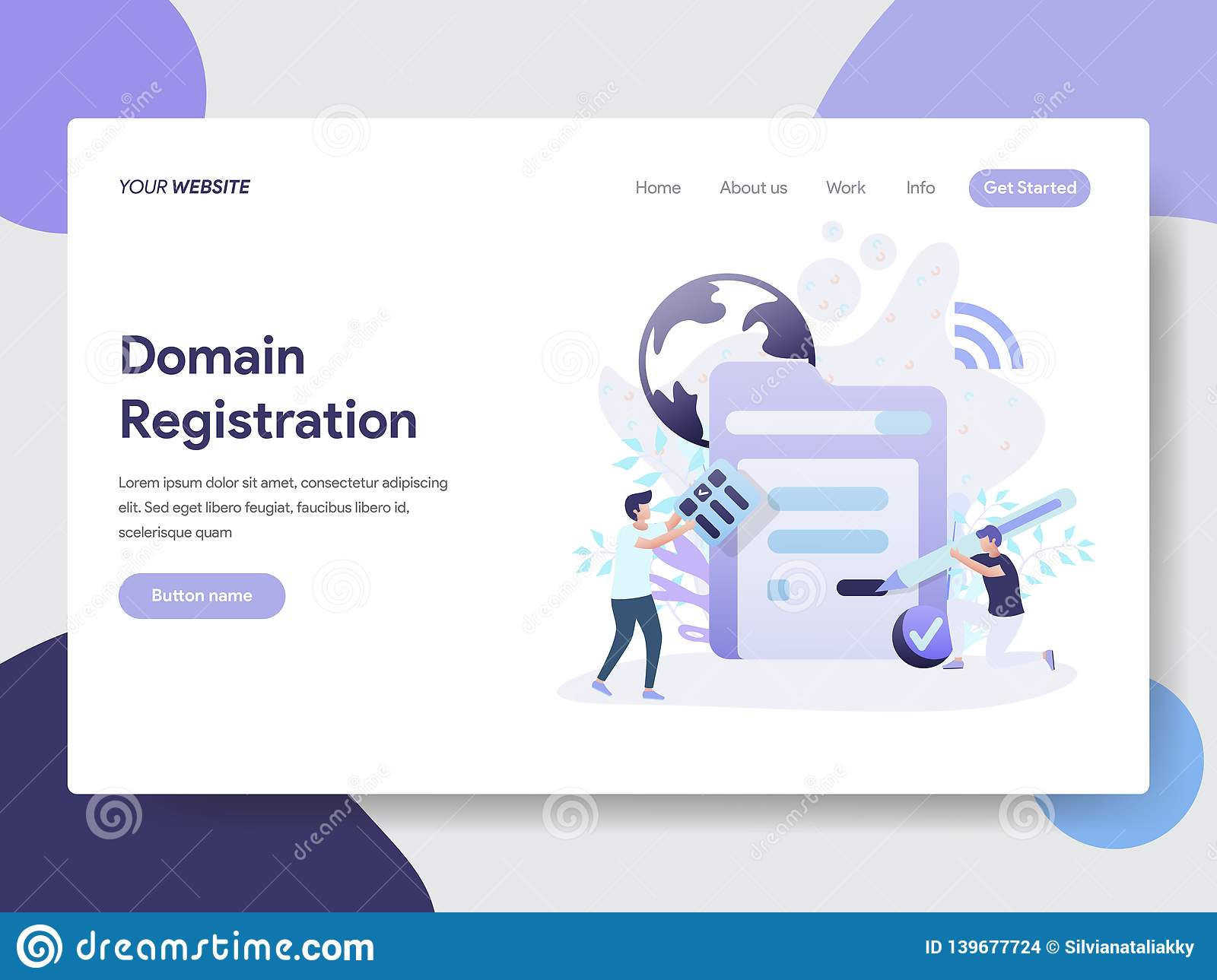 Landing page template of Domain Registration Illustration Concept. Modern flat design concept of web page design for website and