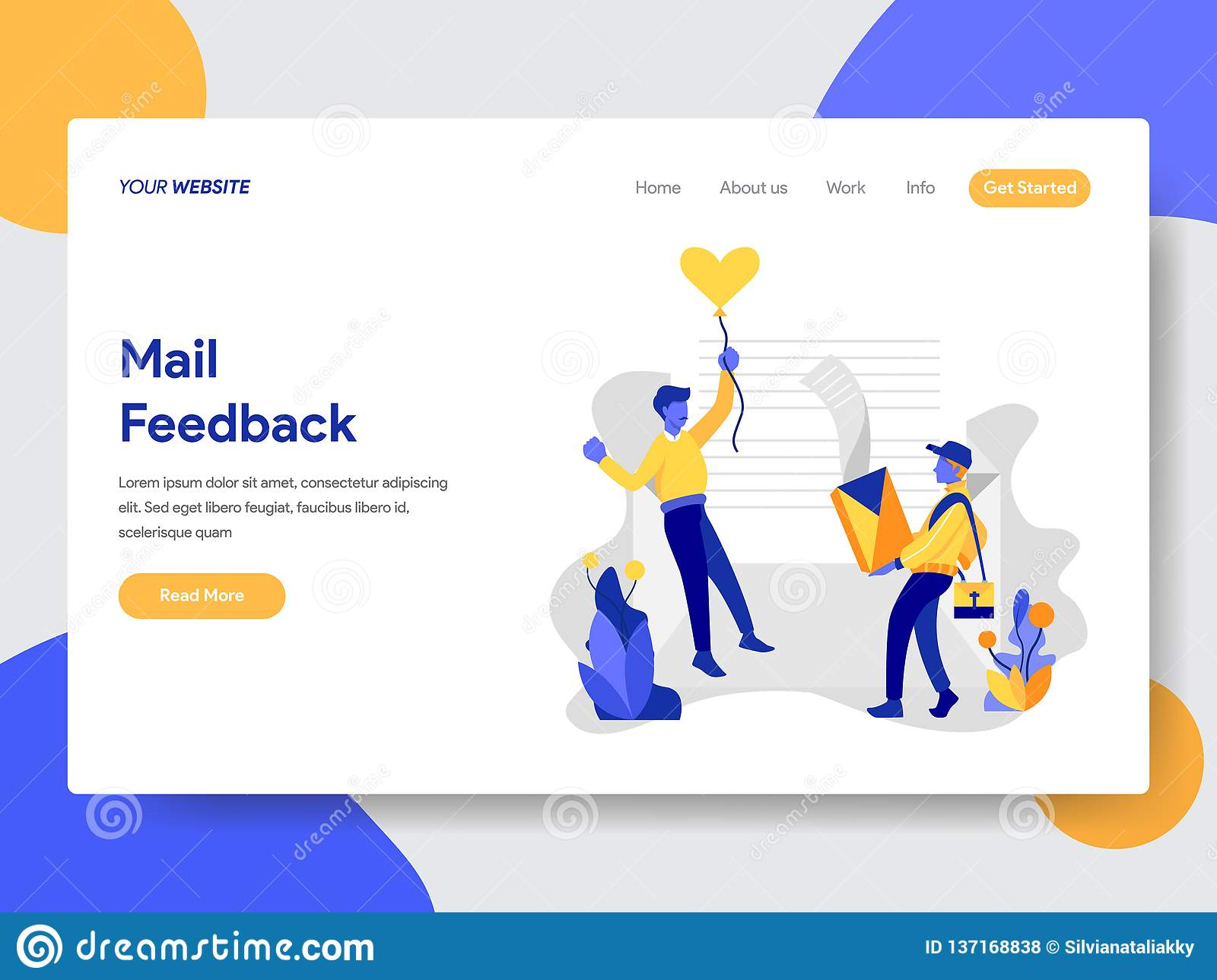 Landing page template of Mail Feedback Concept. Modern flat design concept of web page design for website and mobile website.