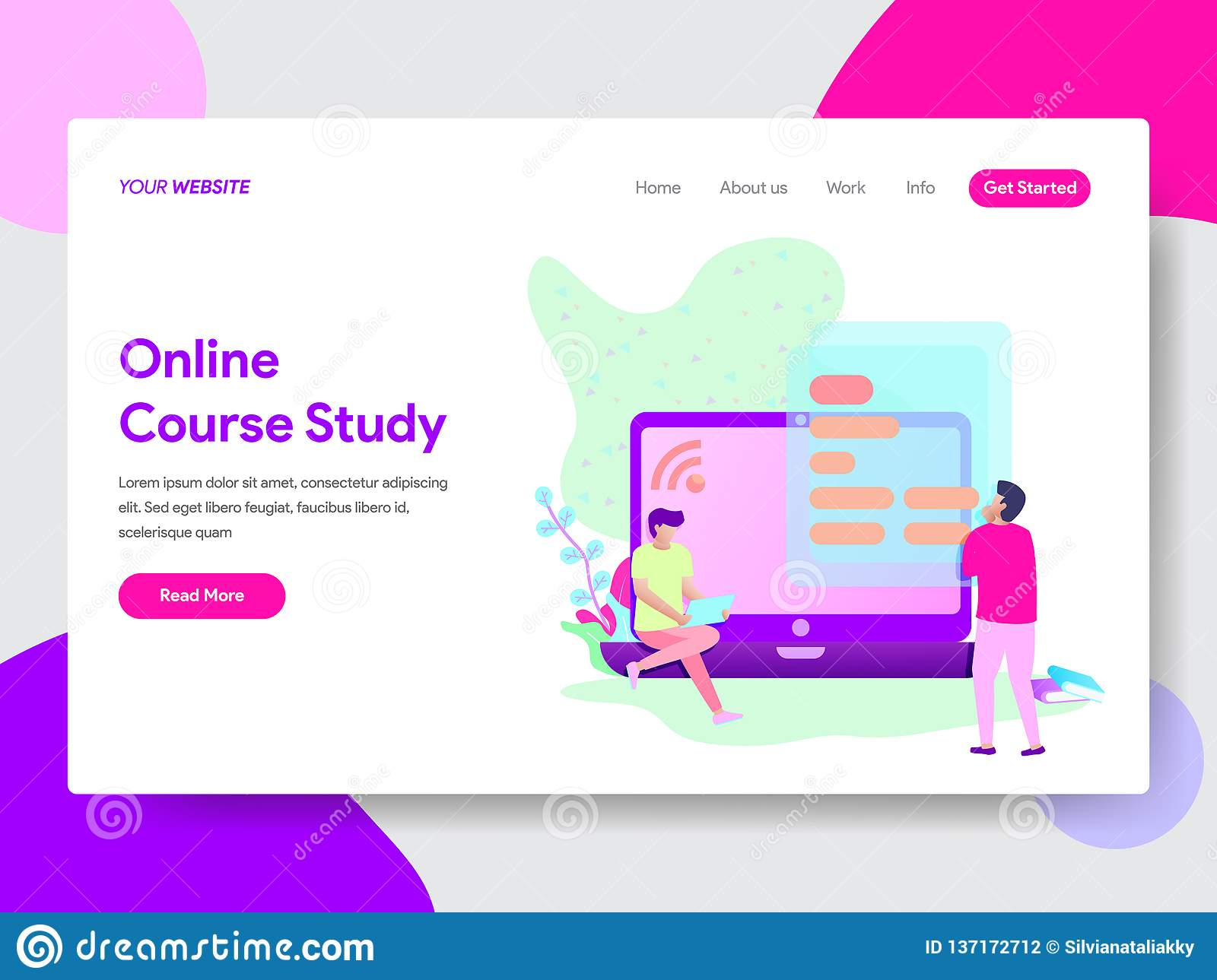 Landing page template of Online Course Student Illustration Concept. Modern flat design concept of web page design