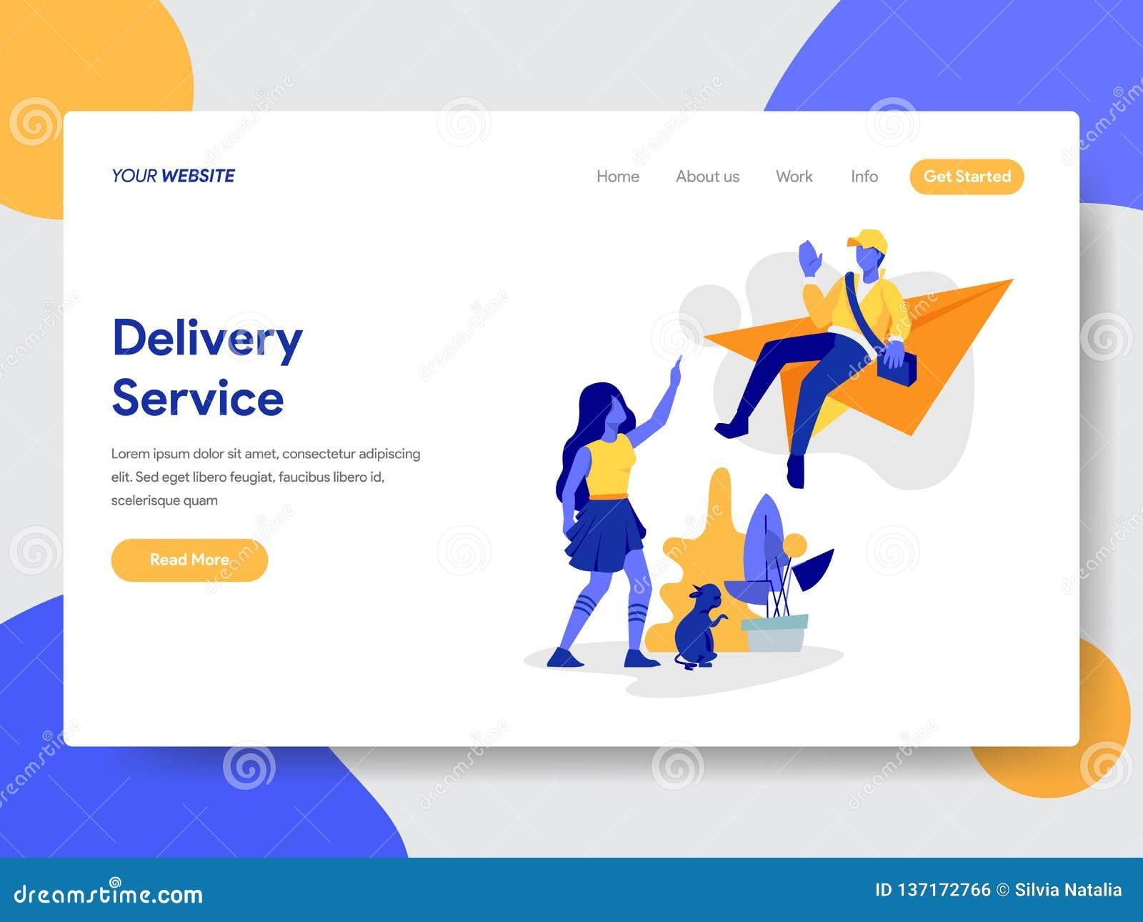Landing page template of Online Delivery Service Illustration Concept. Modern flat design concept of web page design