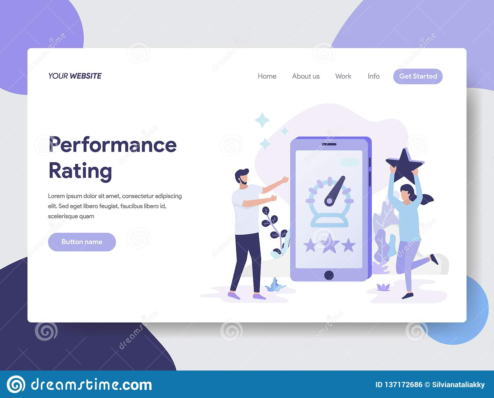 Landing page template of Performance Rating Illustration Concept. Modern flat design concept of web page design for website and