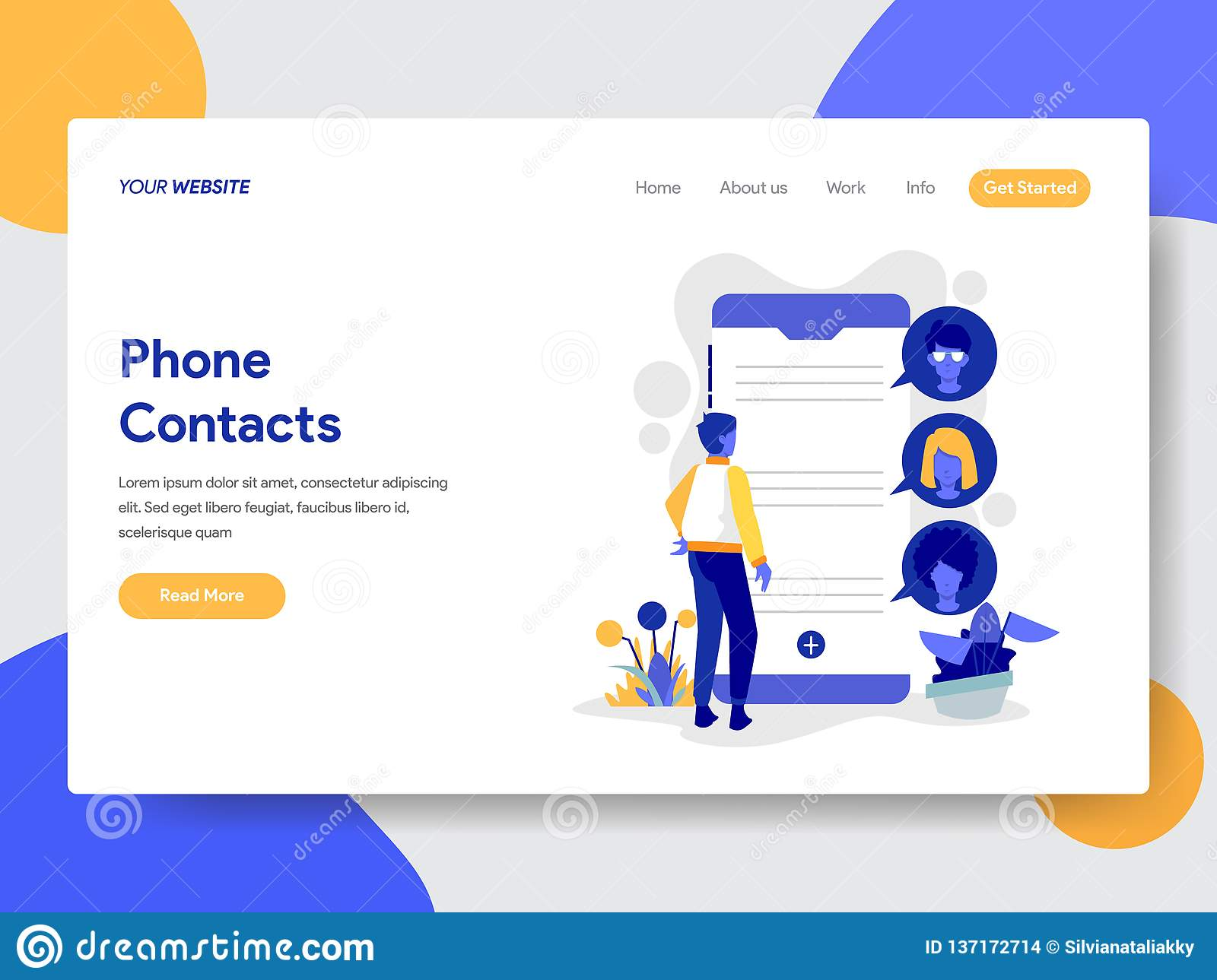 Landing page template of Phone Contacts Illustration Concept. Modern flat design concept of web page design for website and mobile