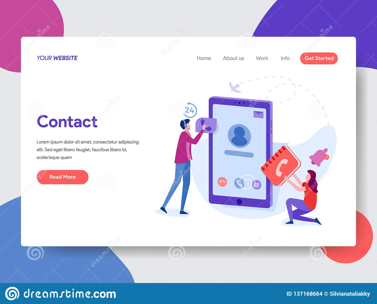 Landing page template of Phone Contacts Illustration. Modern flat design concept of web page design for website and mobile website