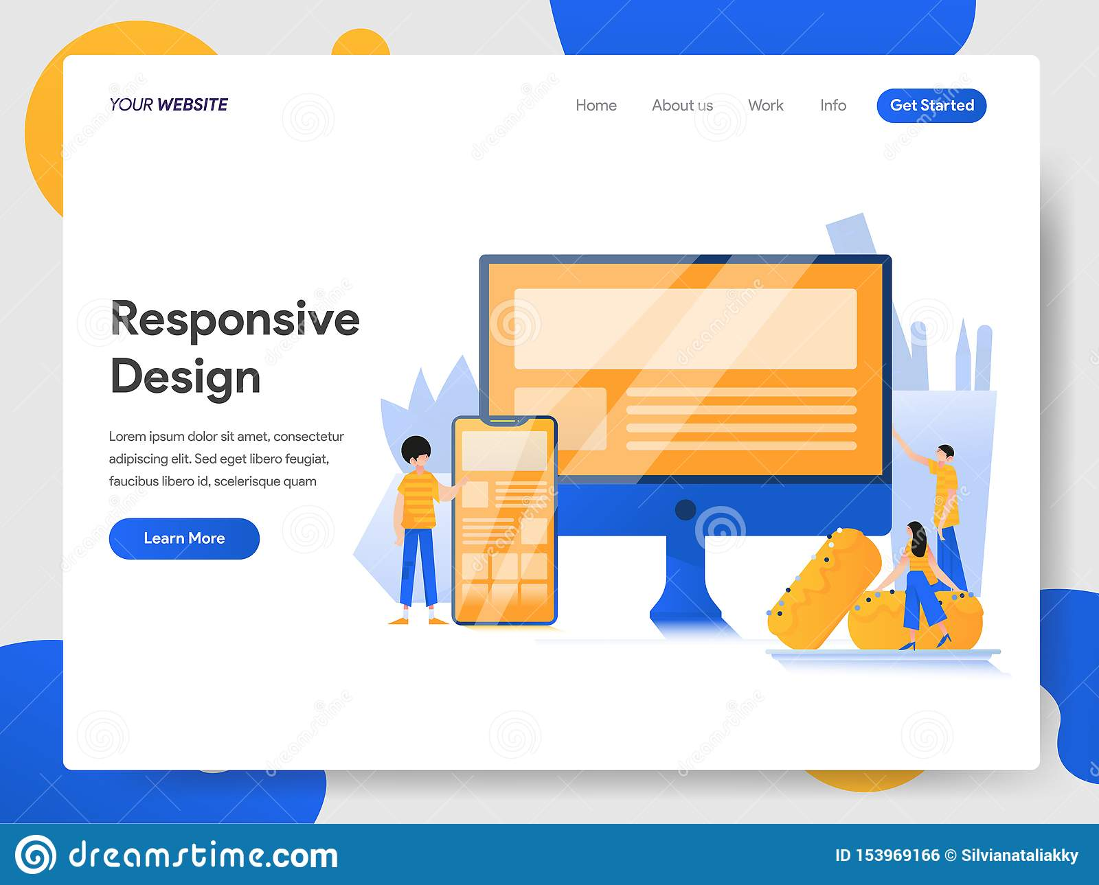 Landing page template of Responsive Design Illustration Concept. Modern design concept of web page design for website and mobile