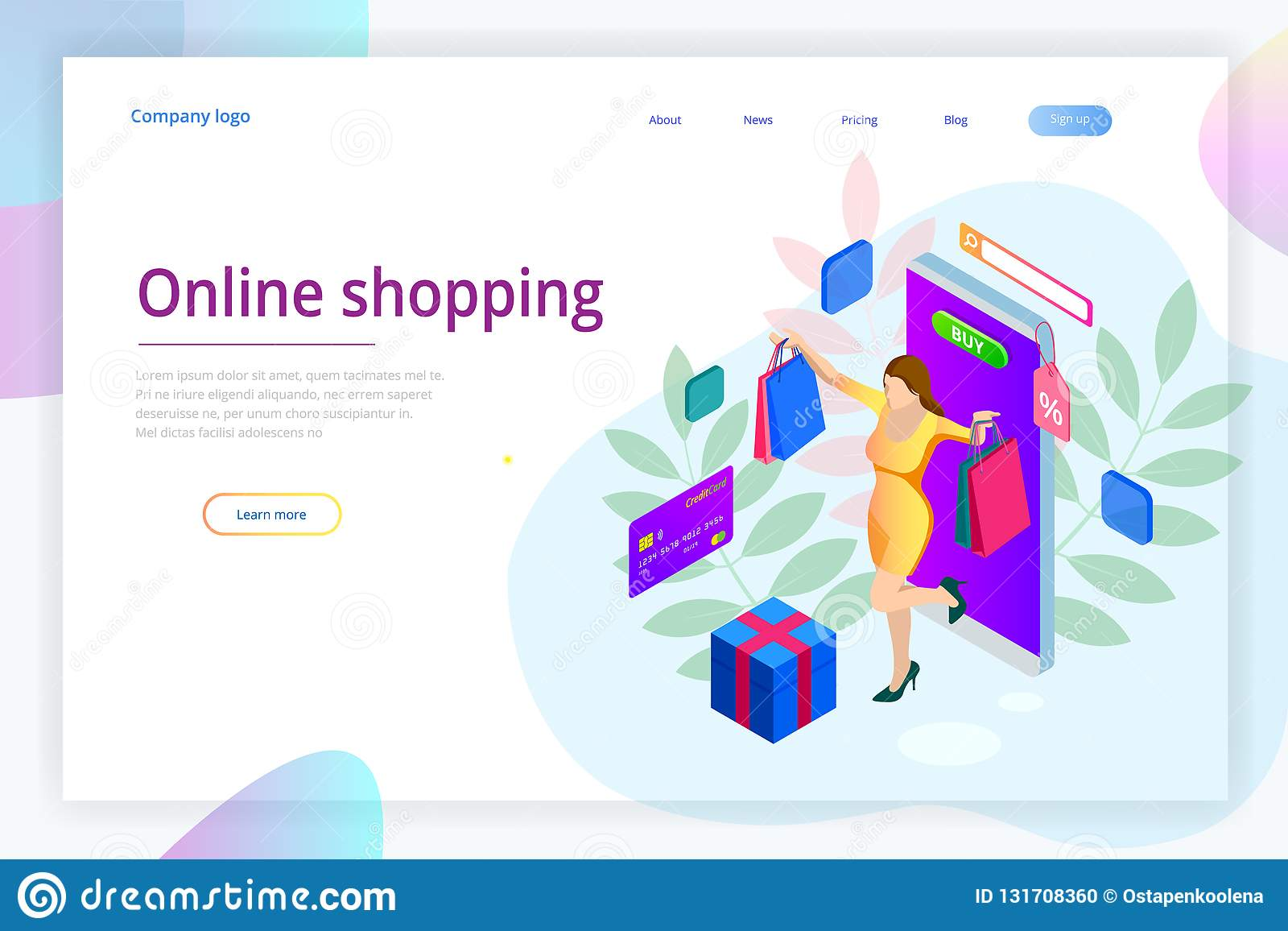 Landing Page Template Of Shopping Online Concept E Commerce Website