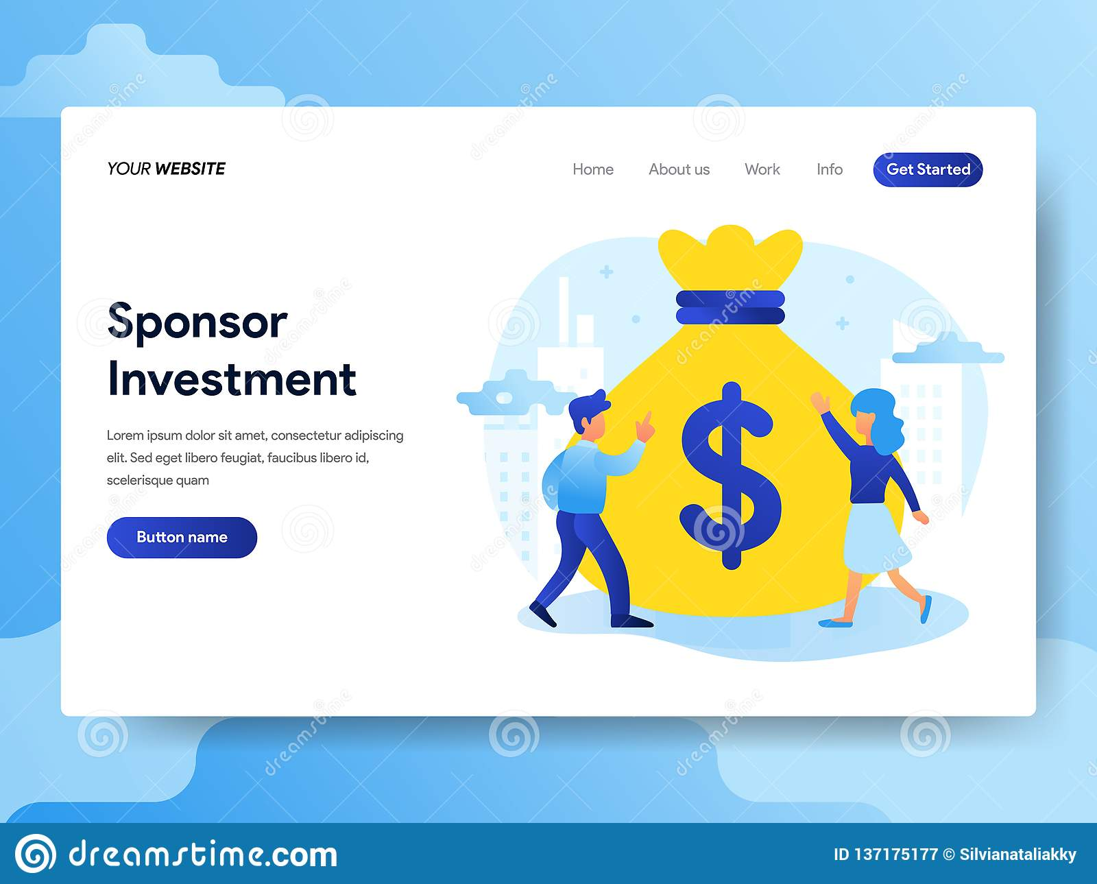 Landing page template of Sponsorship Investment Concept. Modern flat design concept of web page design for website and mobile