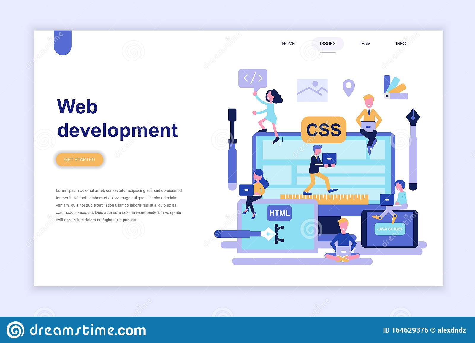 Landing Page Template Of Web Development Modern Flat Design Concept Learning And People Concept Stock Vector Illustration Of Create Information 164629376