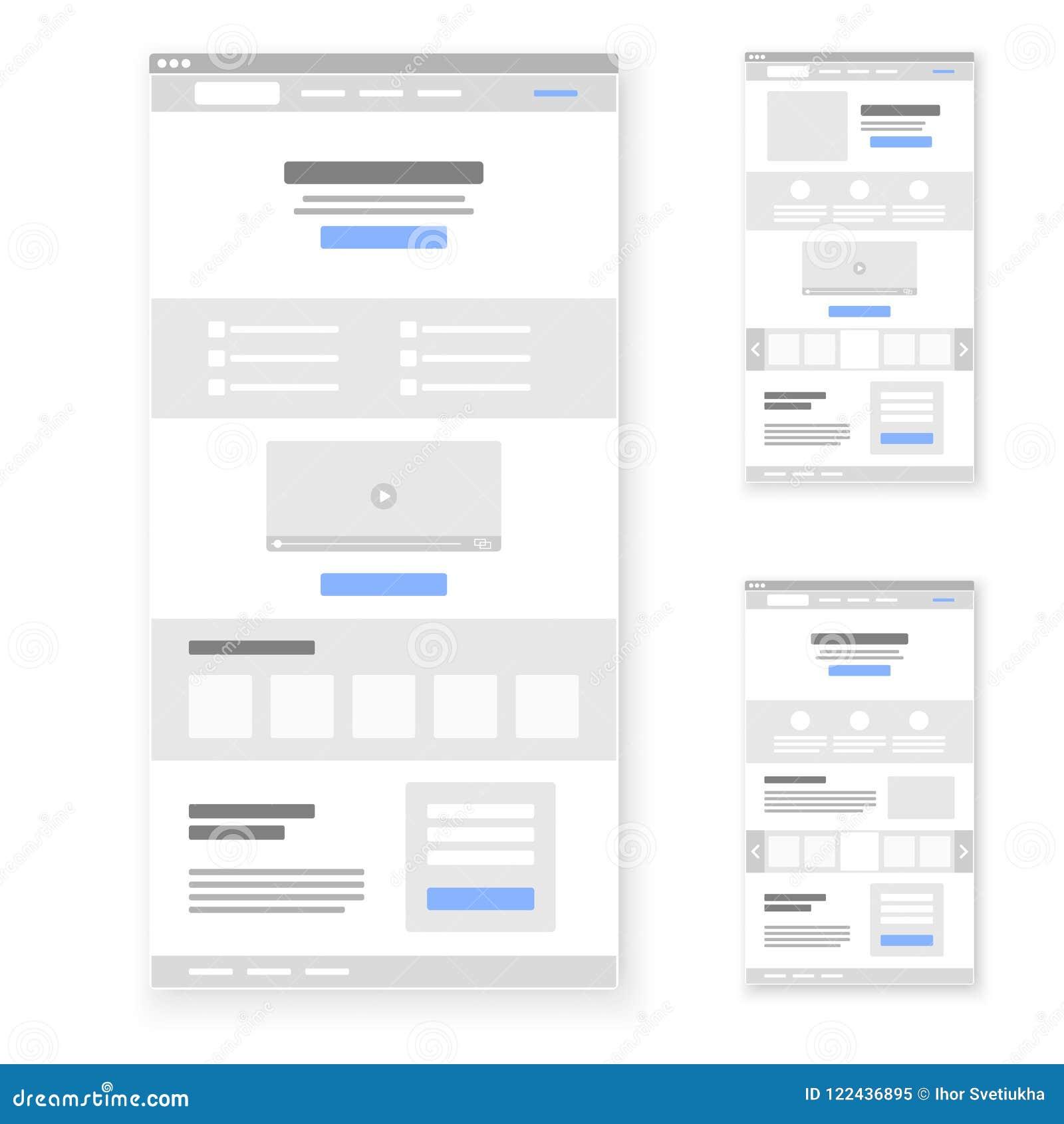Landing page website wireframe interface template set. Vector illustration