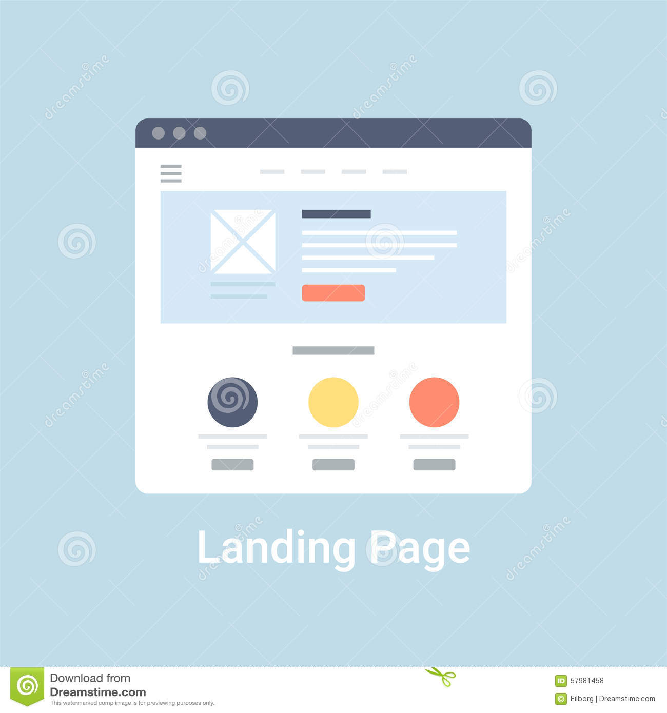 Landing page website wireframe interface template. Flat vector ...