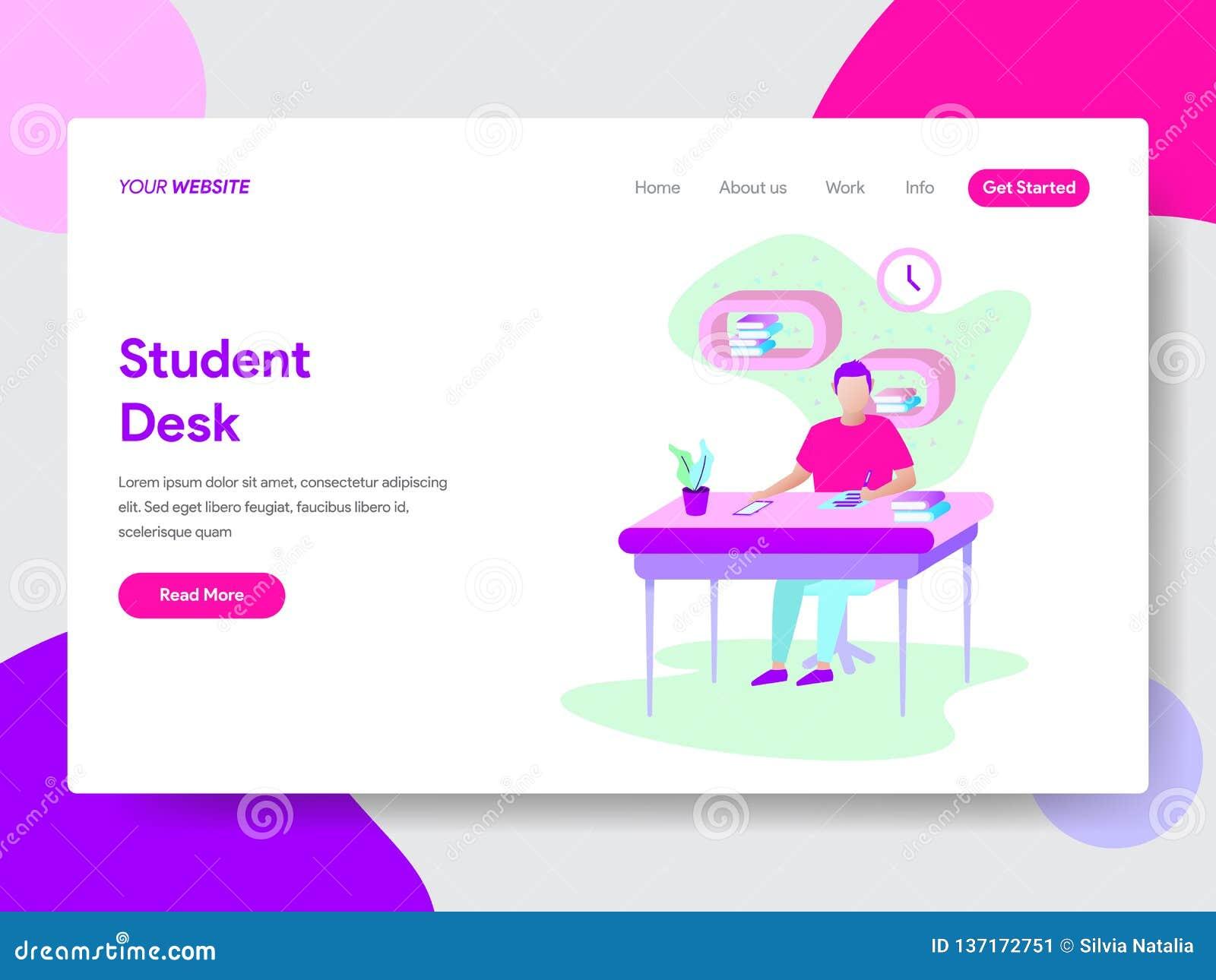 Landingspaginamalplaatje van Student Learning op het Concept van de Bureauillustratie Modern vlak ontwerpconcept Web-pagina ontwe