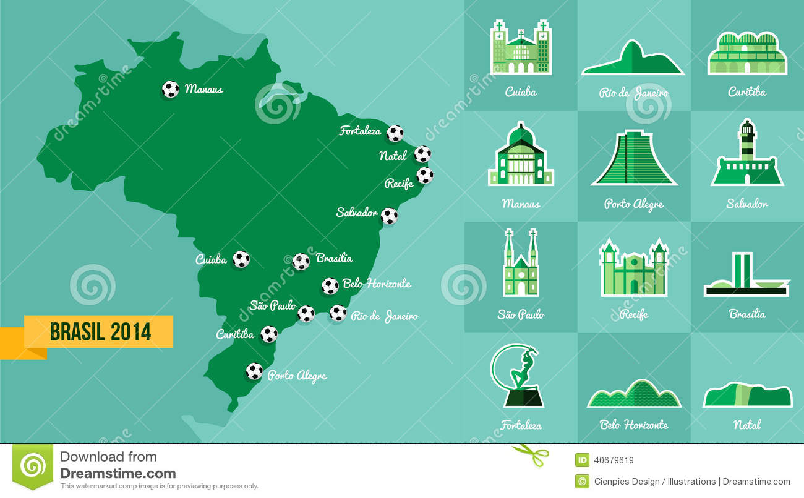 Landmark Brazil Map Silhouette Icon Editorial Stock Image ...