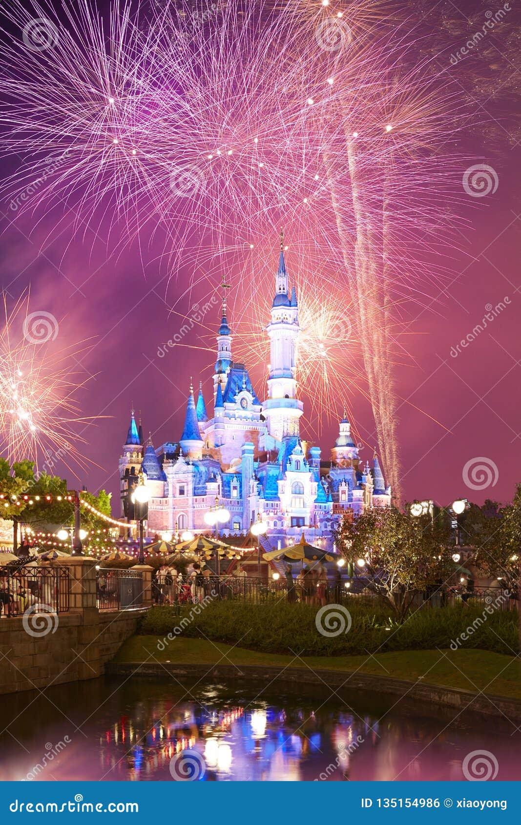 Shanghai Disney castle and fireworks