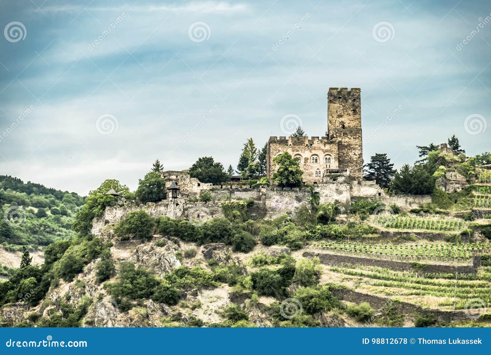 Landmark Gutenfels castle at Kaub in the famous Rhine Gorge north of Rudesheim