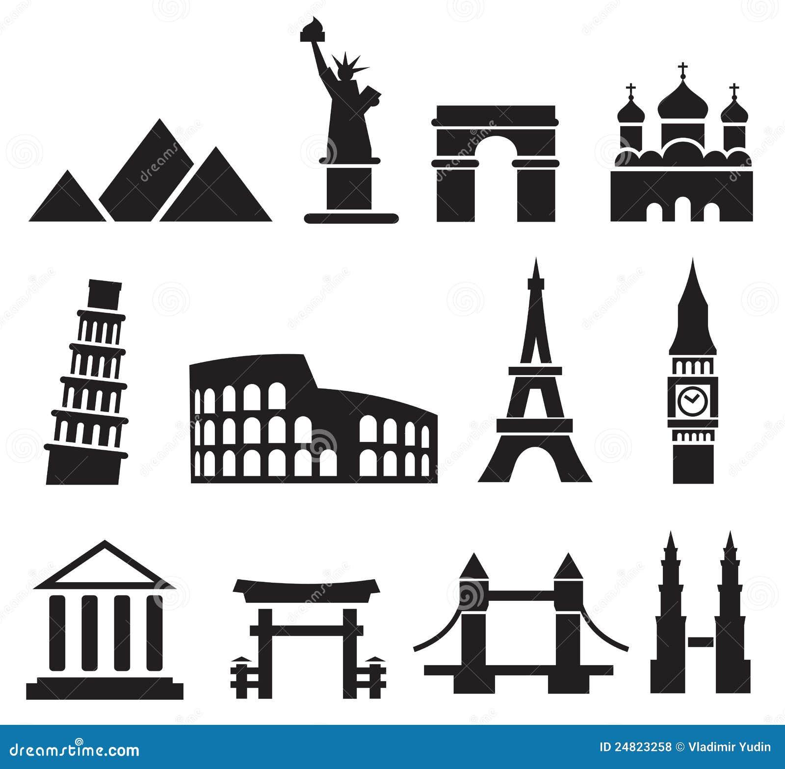 Landmark icons stock vector image of greek cartoon for Landmark design