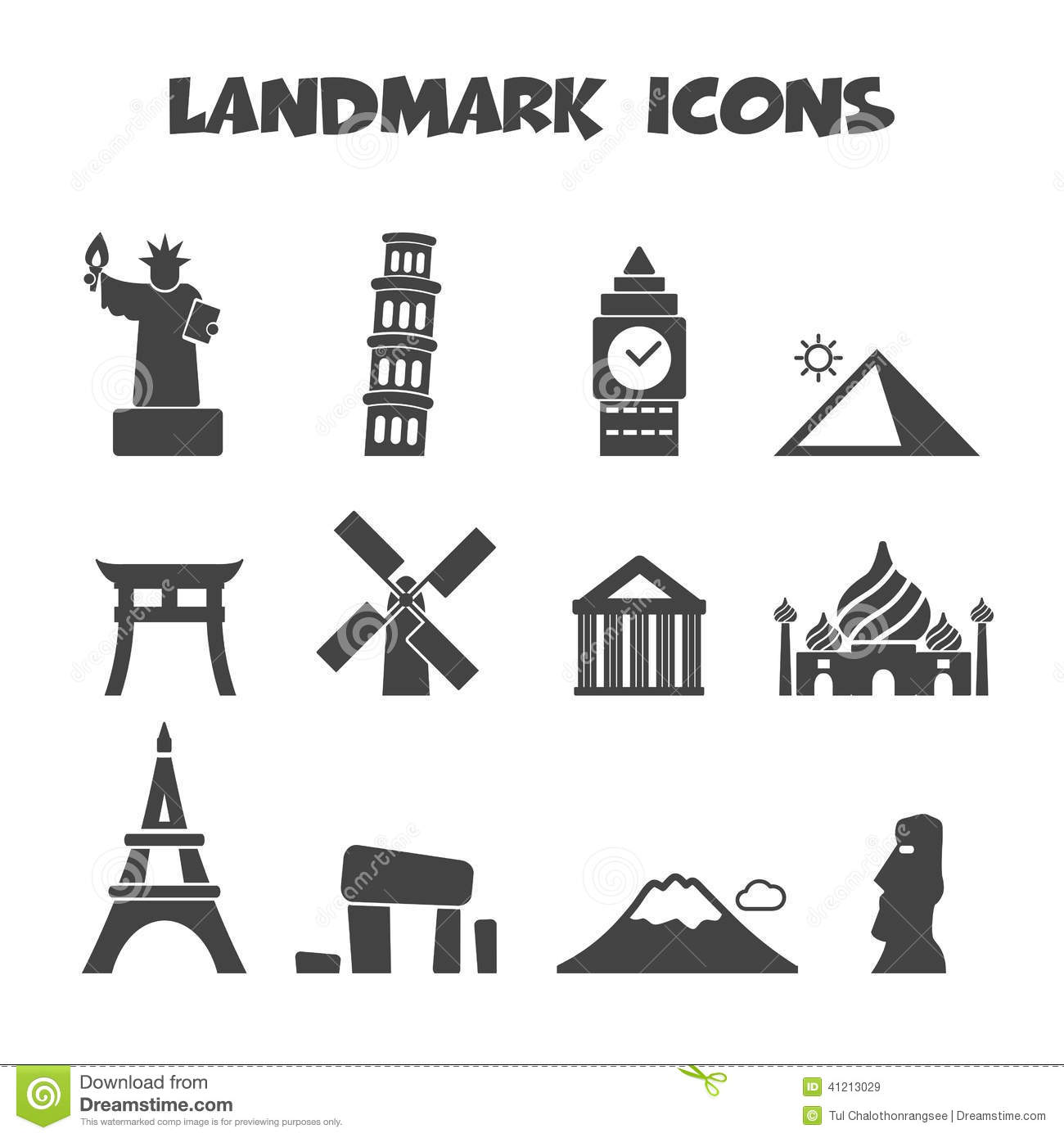 Landmark Icons Stock Vector Illustration Of Building 41213029