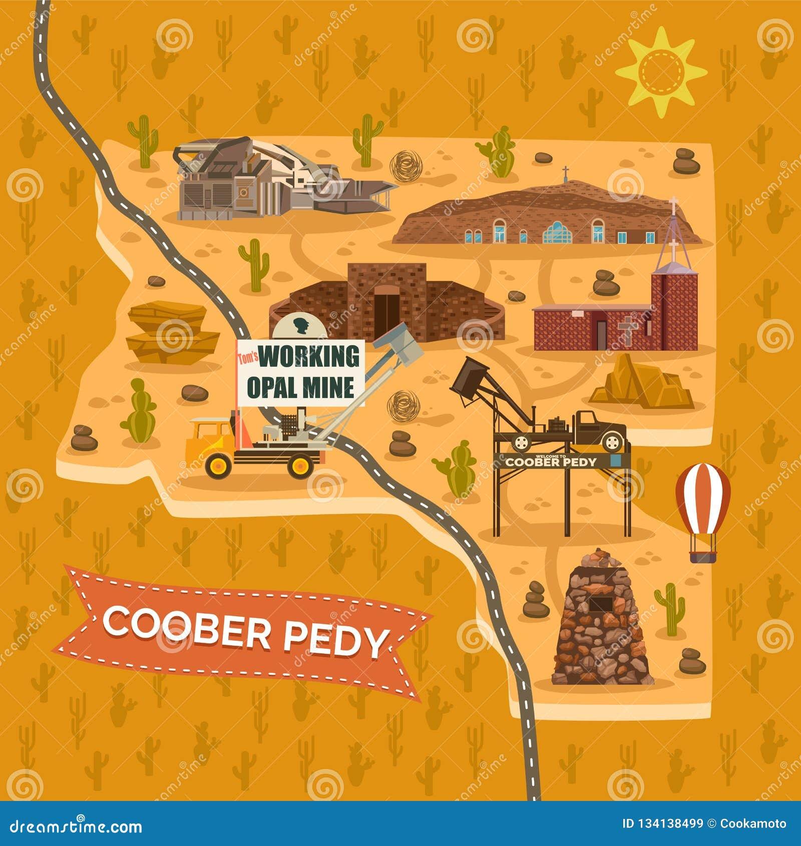 Map Of Australia Landmarks.Landmark Map For Australian Coober Pedy Town City Stock Vector