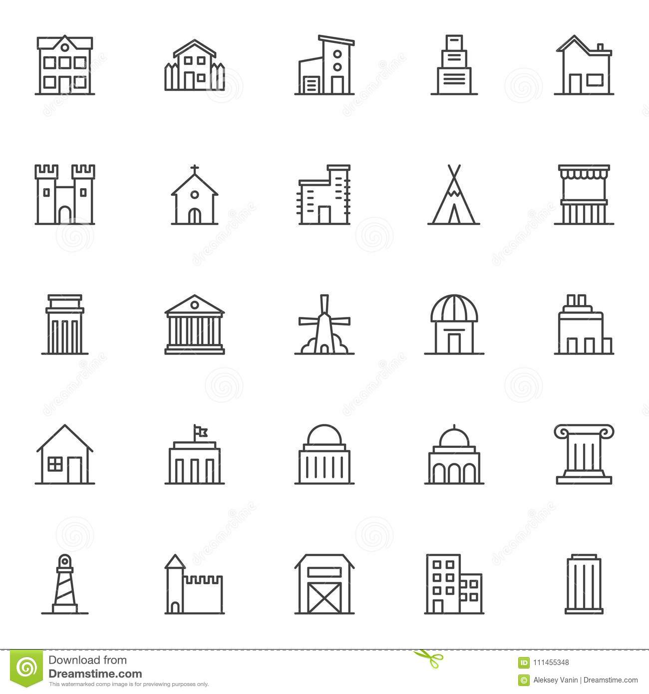 Landmarks and building outline icons set