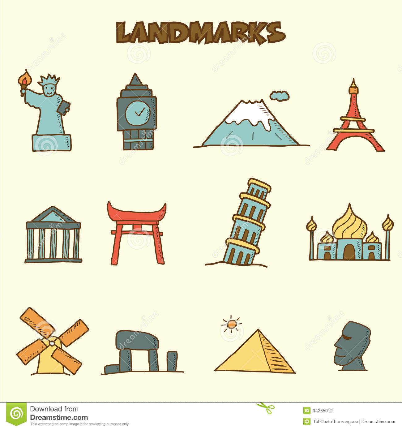 Landmarks Doodle Icons Stock Photography Image 34265012