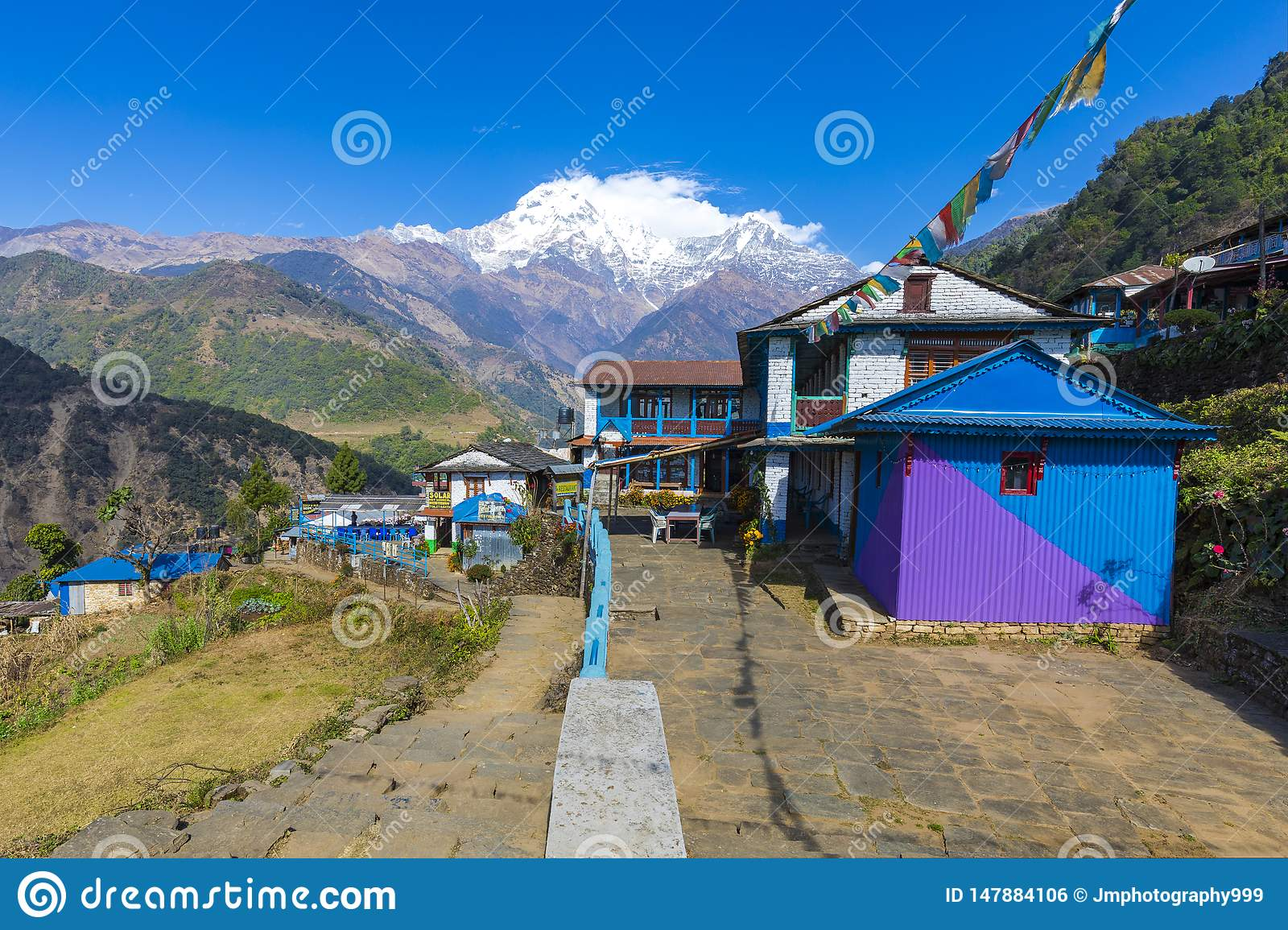 Landruk village seen on the way to Annapurna base camp