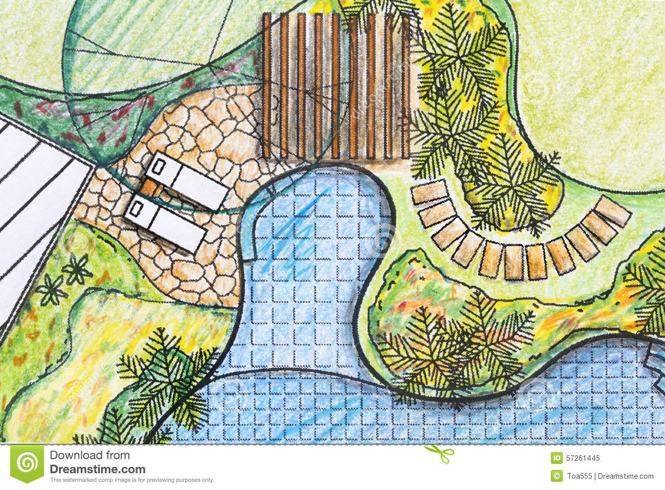 ... Garden Design With Landscape Plan House Pool Garden Design Stock  Photos, Images With Front Yards