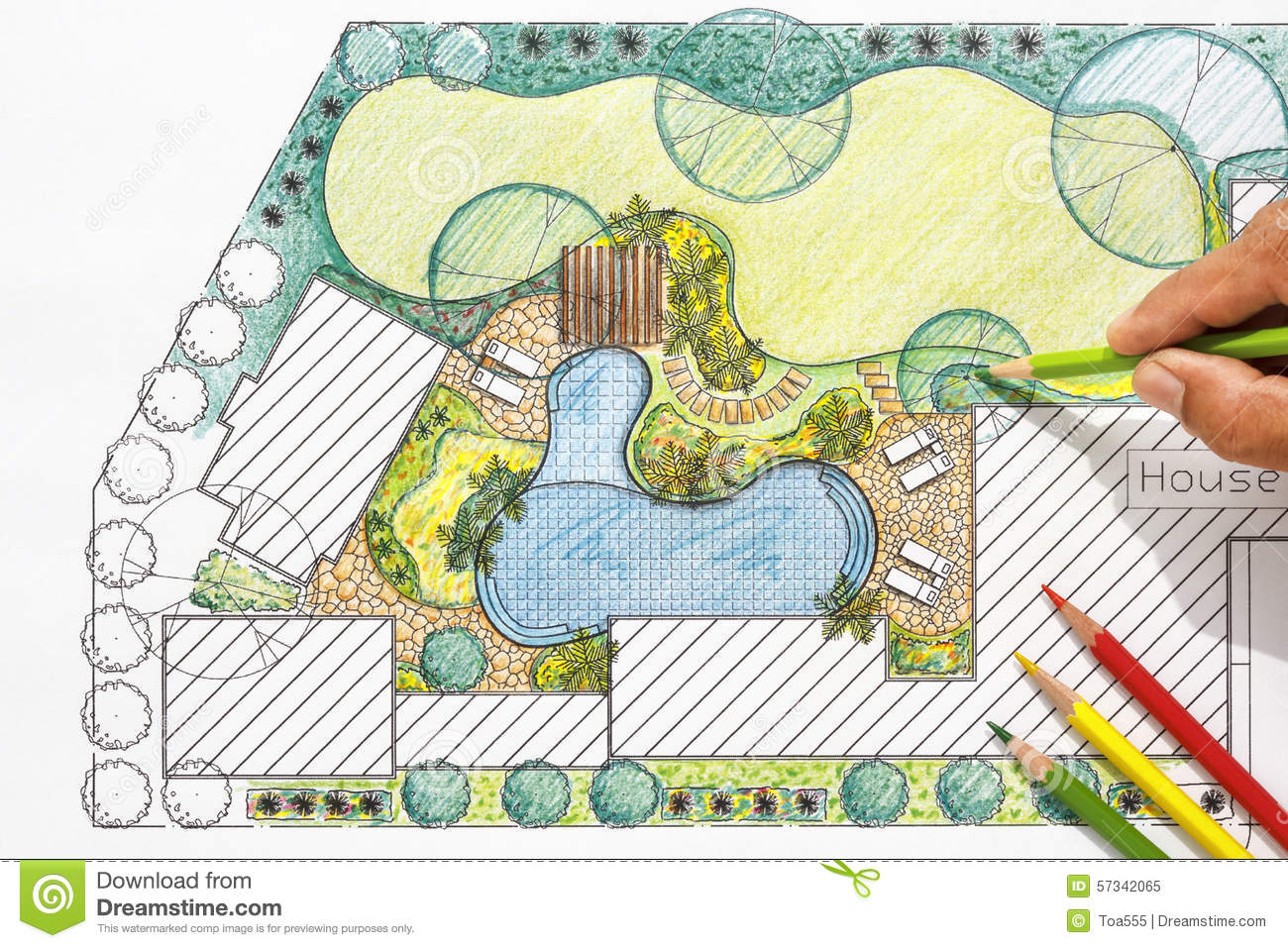 Landscape Architect Design Backyard Plan For Villa Stock Image