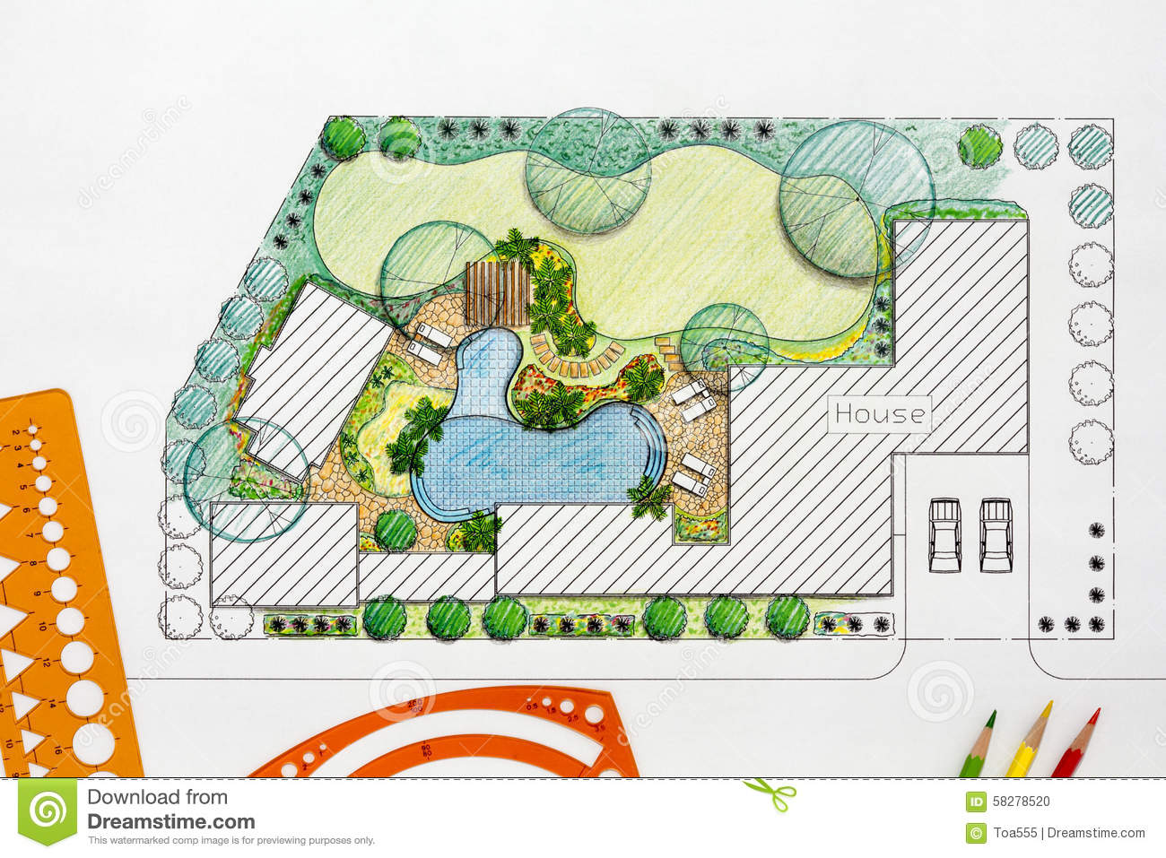 Landscape Architect Design Backyard Plan For Villa Stock