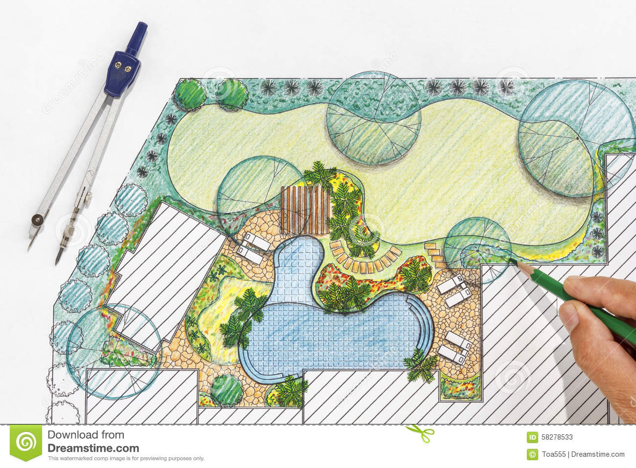 Landscape architect design backyard plan for villa stock for Backyard landscape design plans