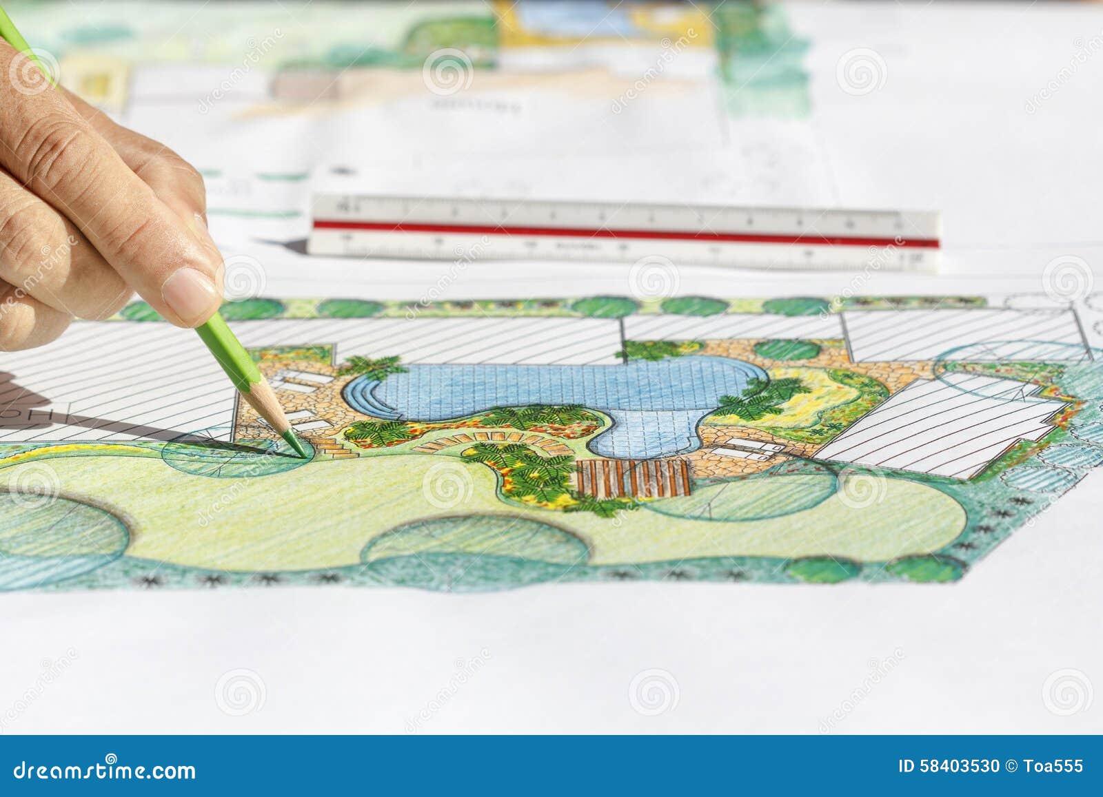 Landscape architect design backyard plan for villa stock for Plan landscape my yard
