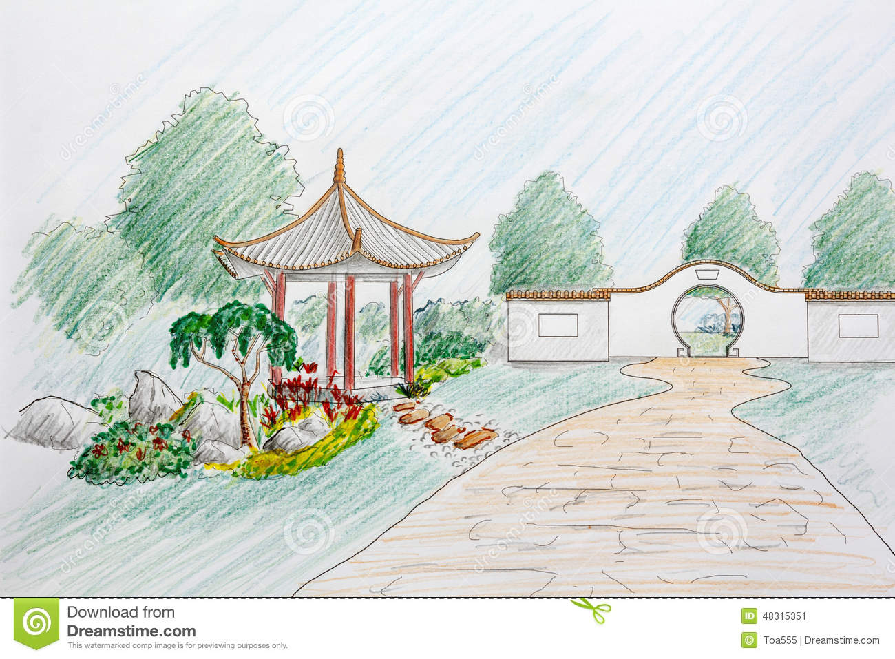 Landscape Architect Design Chinese Garden Plan Stock Image