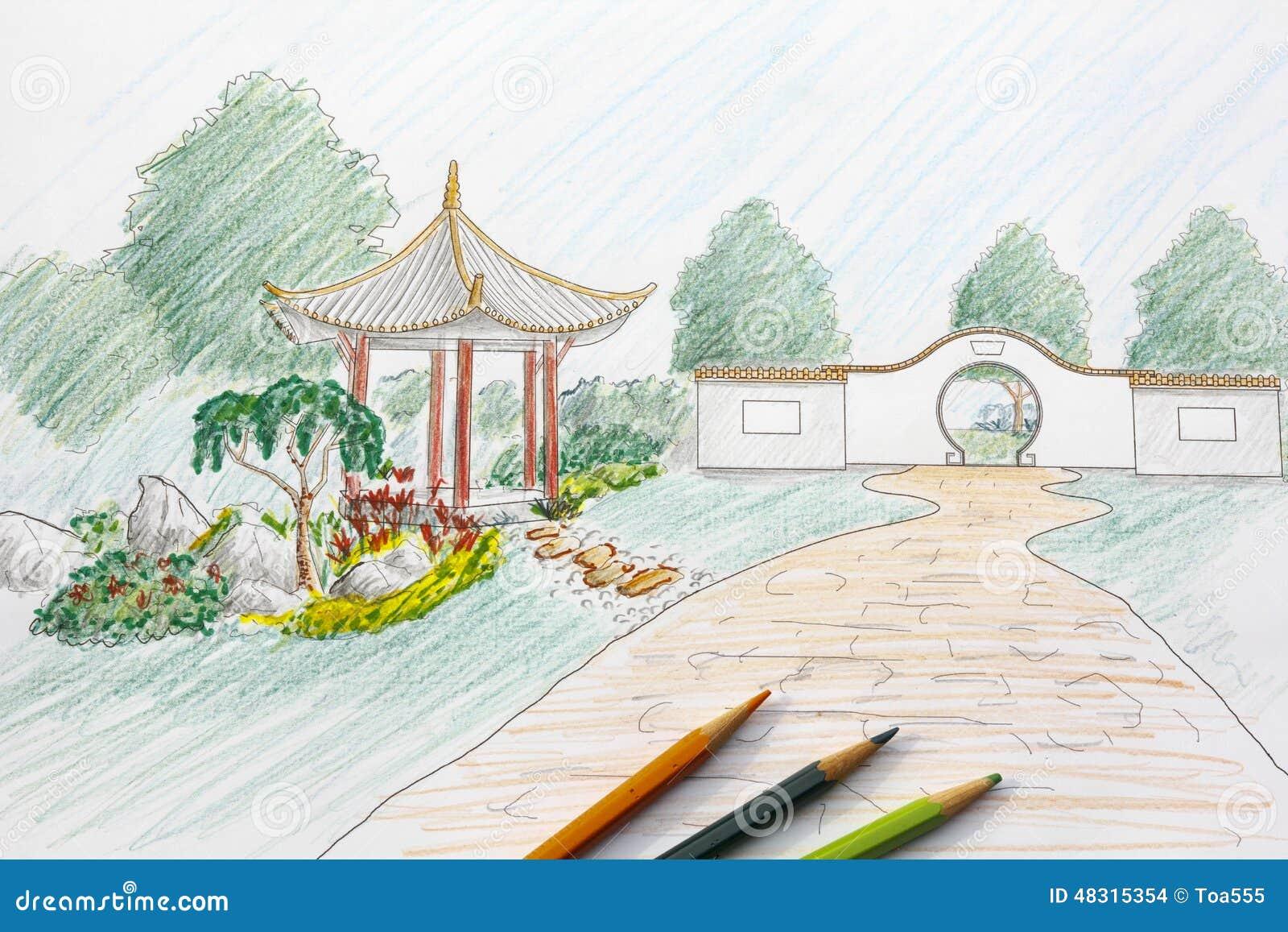 Chinese garden design - Landscape Architect Design Chinese Garden Plan Stock Images