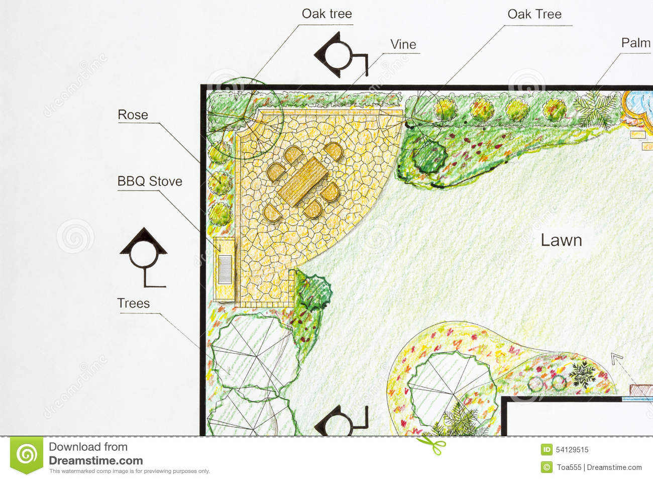 Landscape architect design garden plan stock image image for Garden plot designs