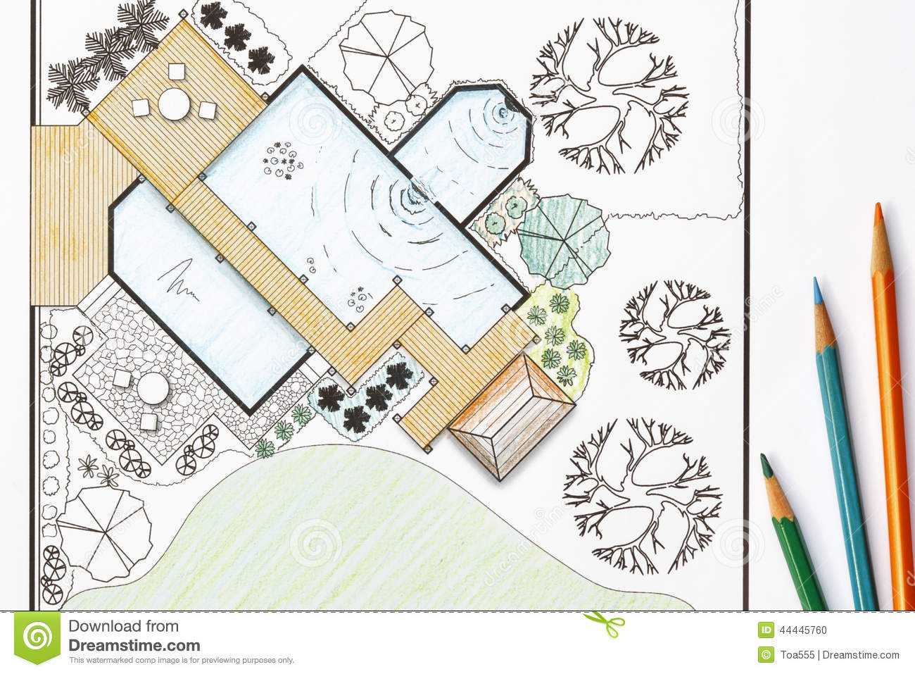 Landscape architect design garden plans for backyard stock for Landscape blueprints