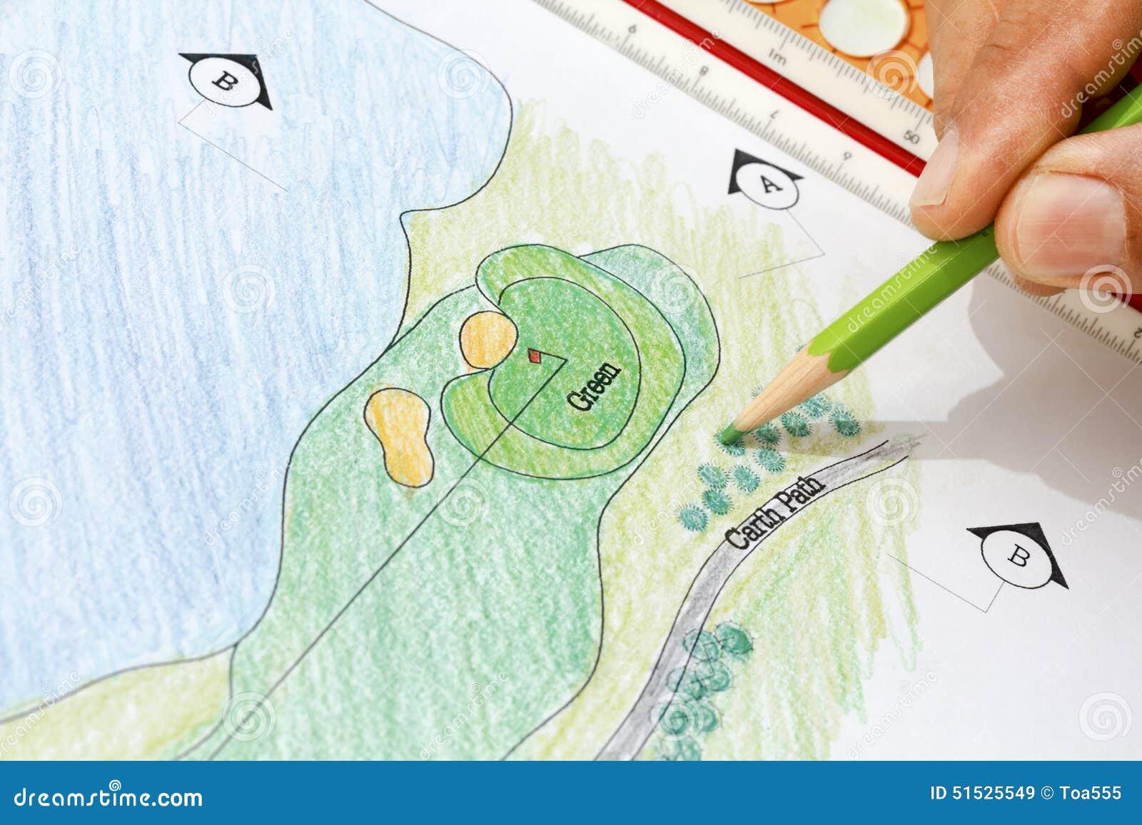 landscape architect design golf course plan stock image. Black Bedroom Furniture Sets. Home Design Ideas