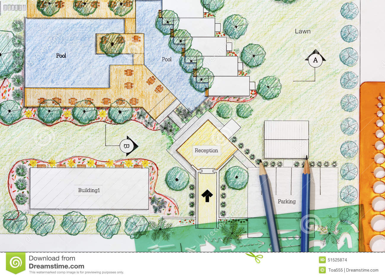 Landscape Architect Design Hotel Resort Plan Stock Photo