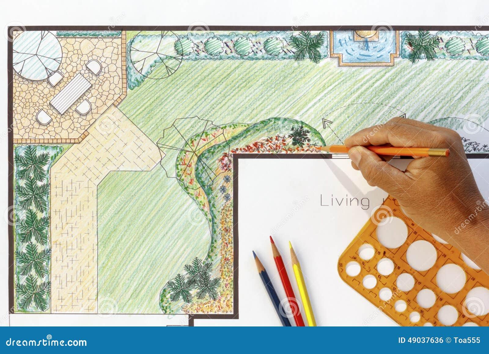 Landscape Architect Design L Shape Garden Plan Stock Photo - Image 49037636