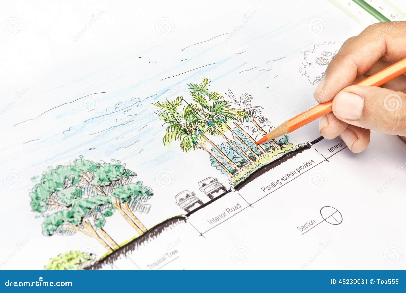 Landscape architect design section plan stock image