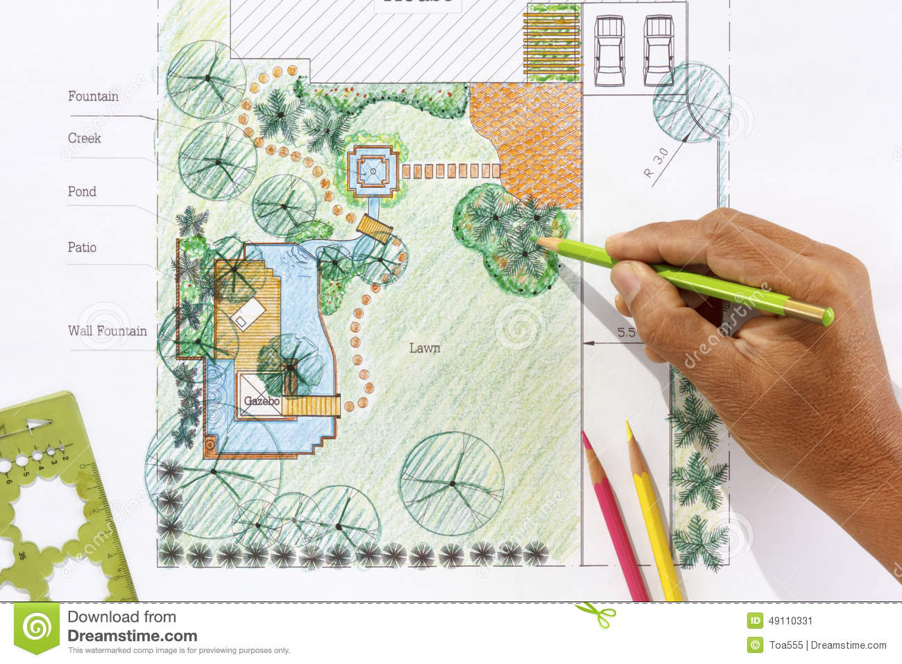 Landscape architect design water garden plans stock photo for Backyard landscape layout