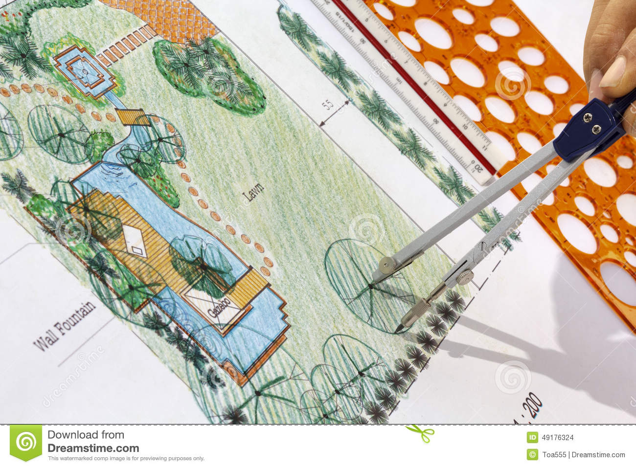 Landscape Architect Design Water Garden Plans Stock Photo Image