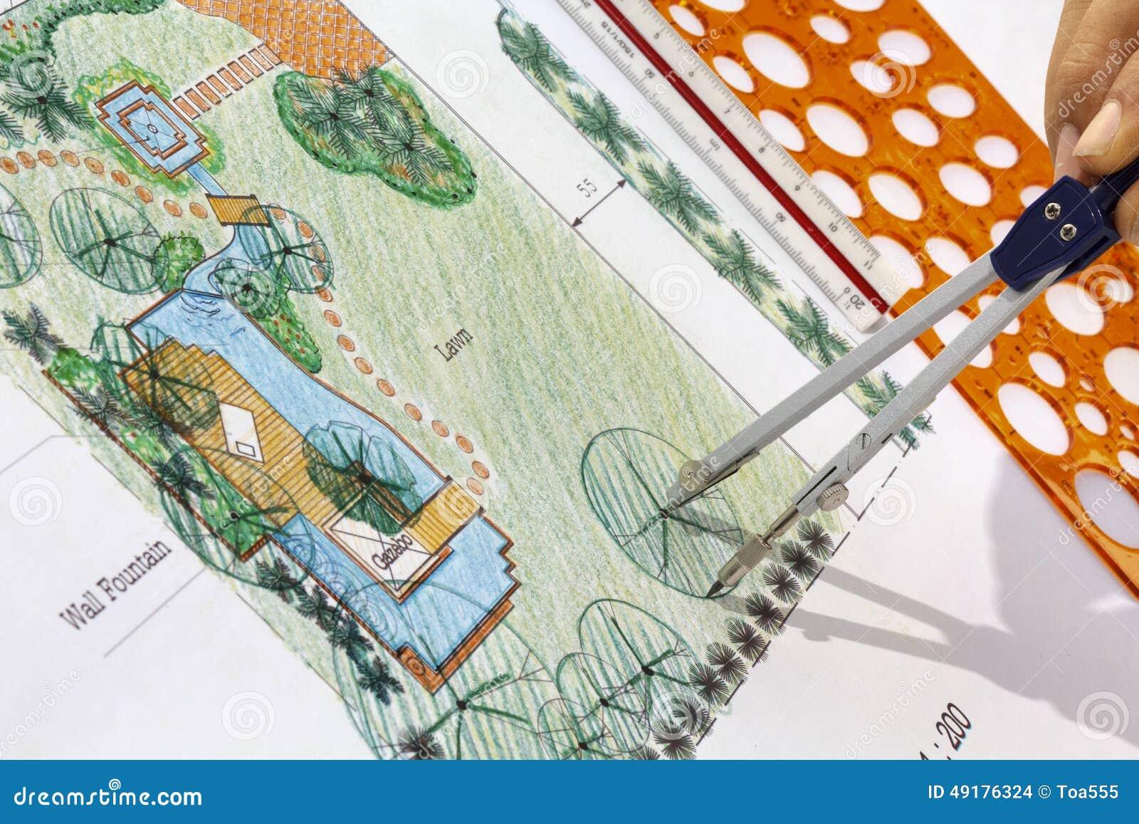 ... Architect Design Water Garden Plans Stock Photo - Image: 49176324