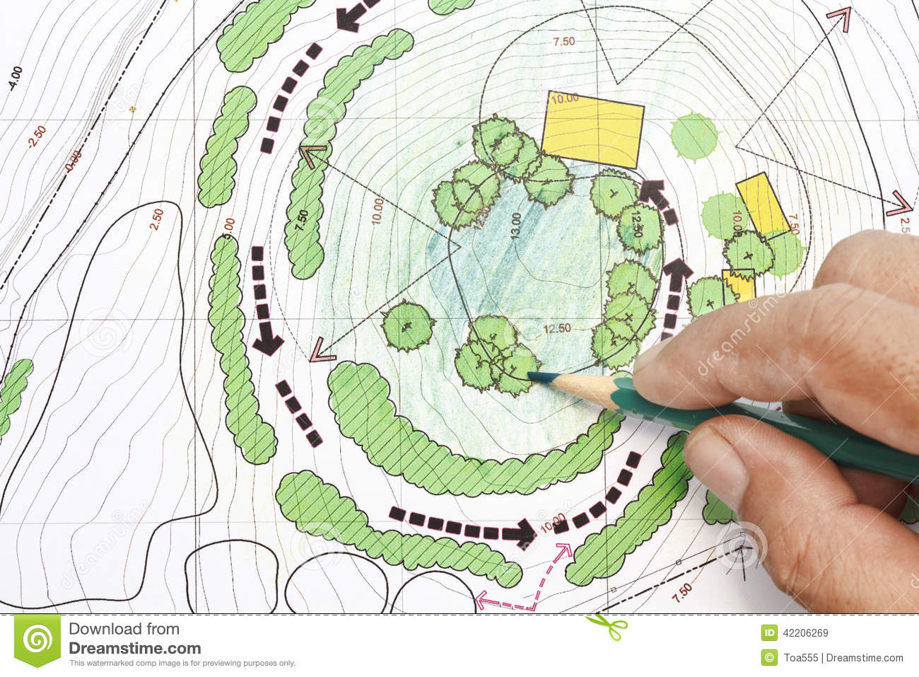 Landscape architect designing on plans stock image image for The landscape design site