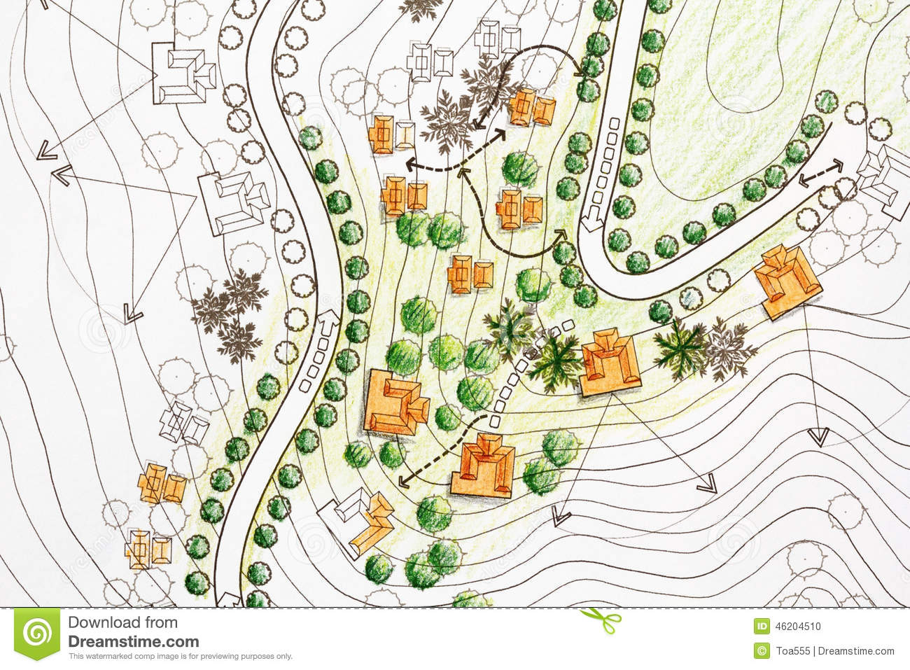 Landscape Architect Designing On Site Analysis Plan Stock