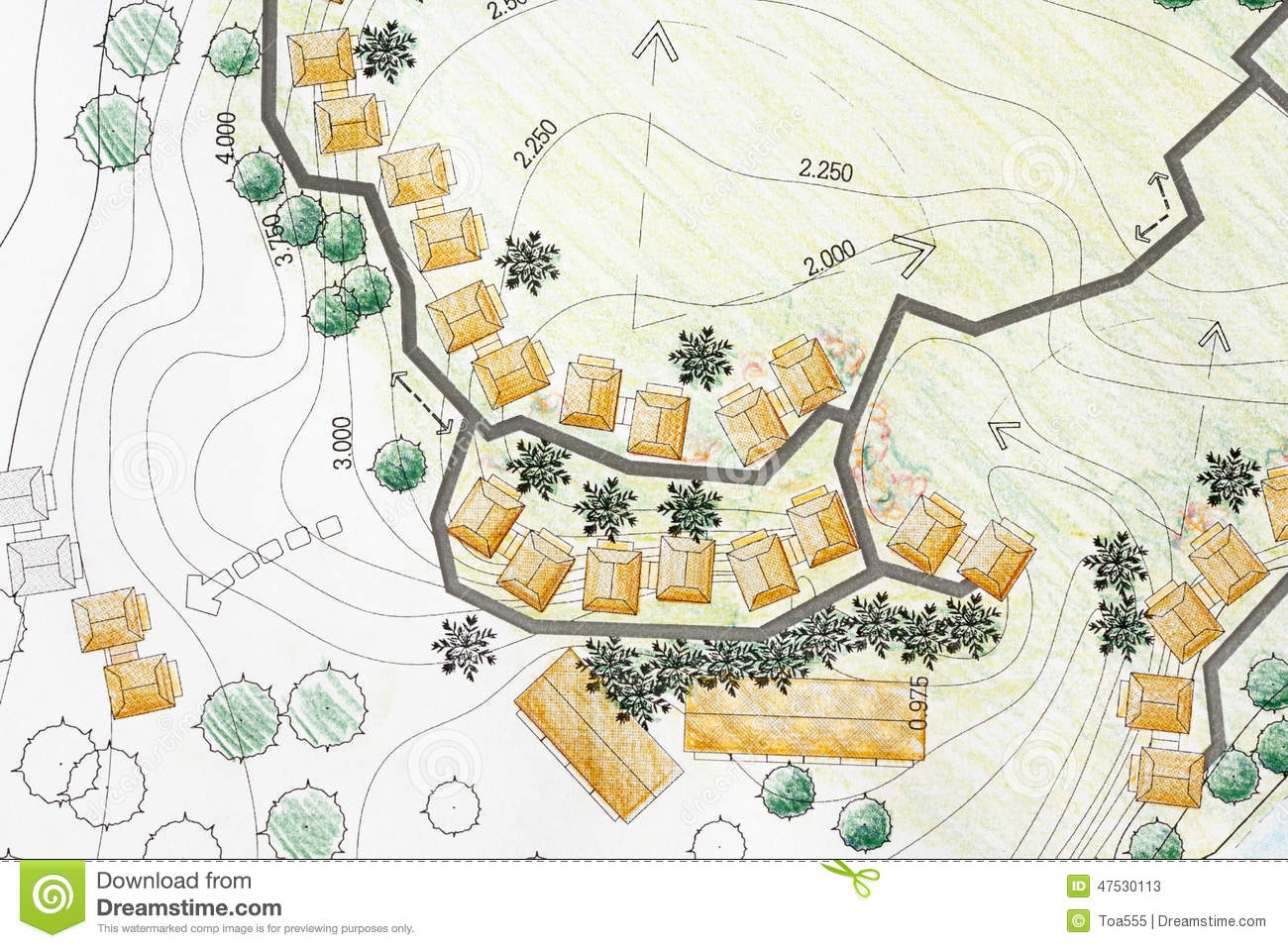 Landscape architect designing on site analysis plan stock for Site plan with landscape