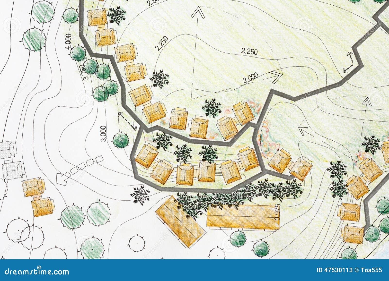 Landscape Architect Designing On Site Analysis Plan Stock