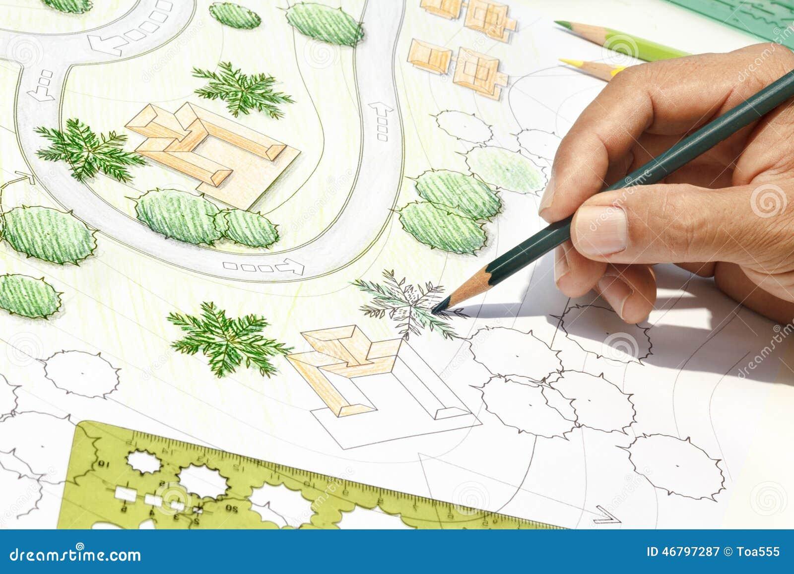 Landscape architect designing on site plan stock image for Site plans online