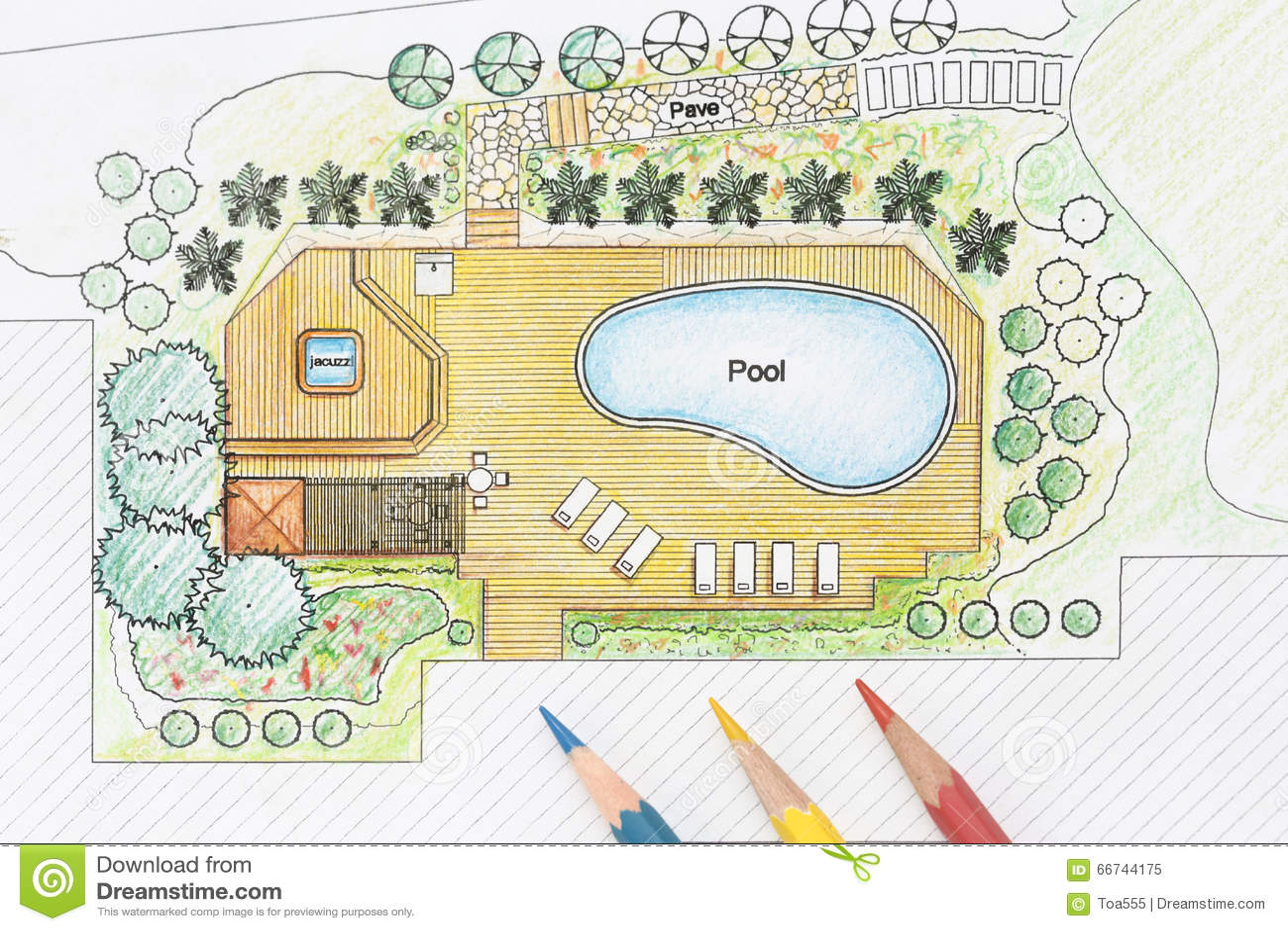Landscape architect designs pool for luxury villa stock for Backyard garden designs plan
