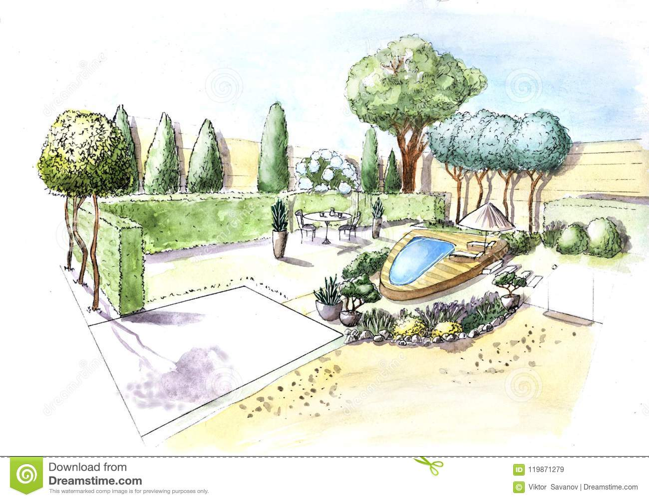 Landscape architecture plan design in the courtyard for for Software disegno casa