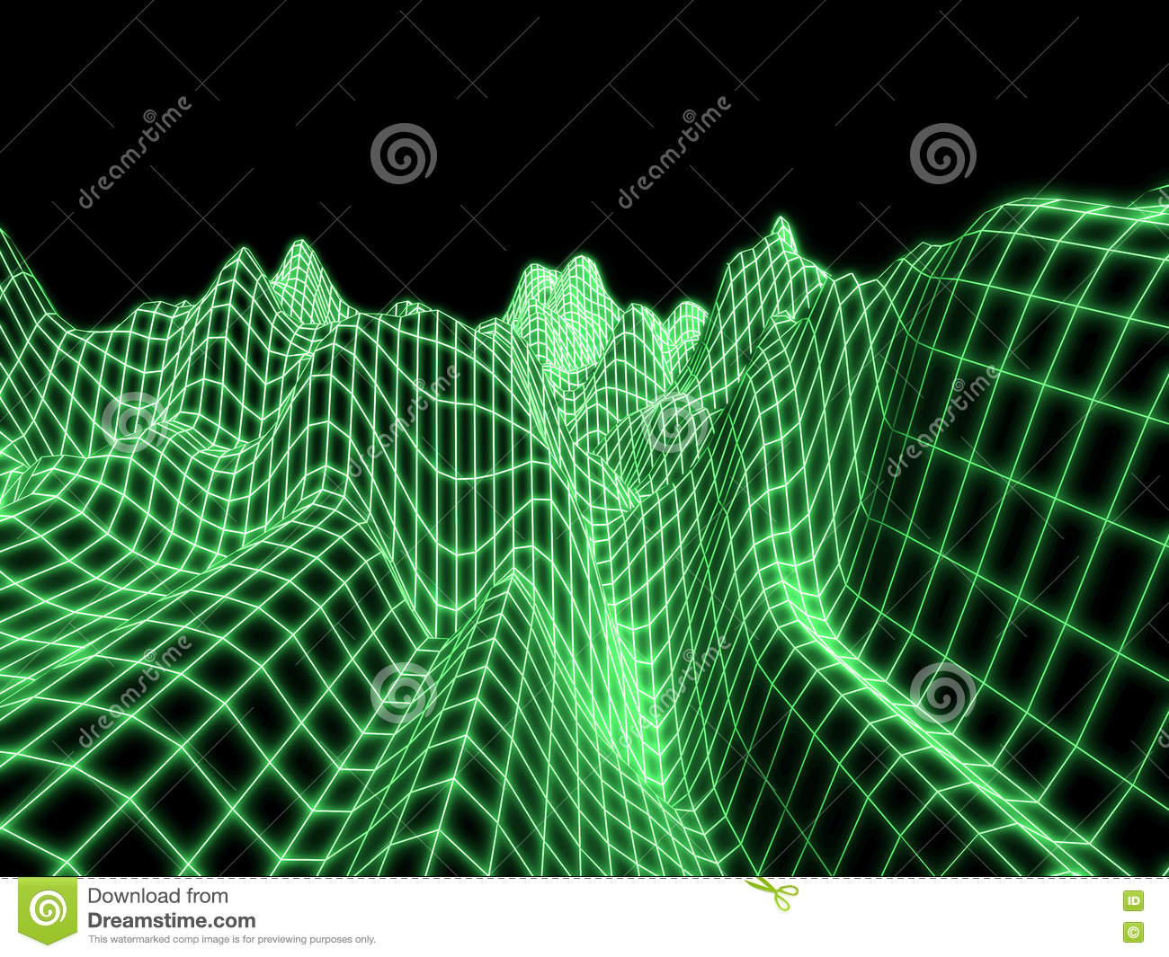Landscape Background Cyberspace Landscape Grid Digital