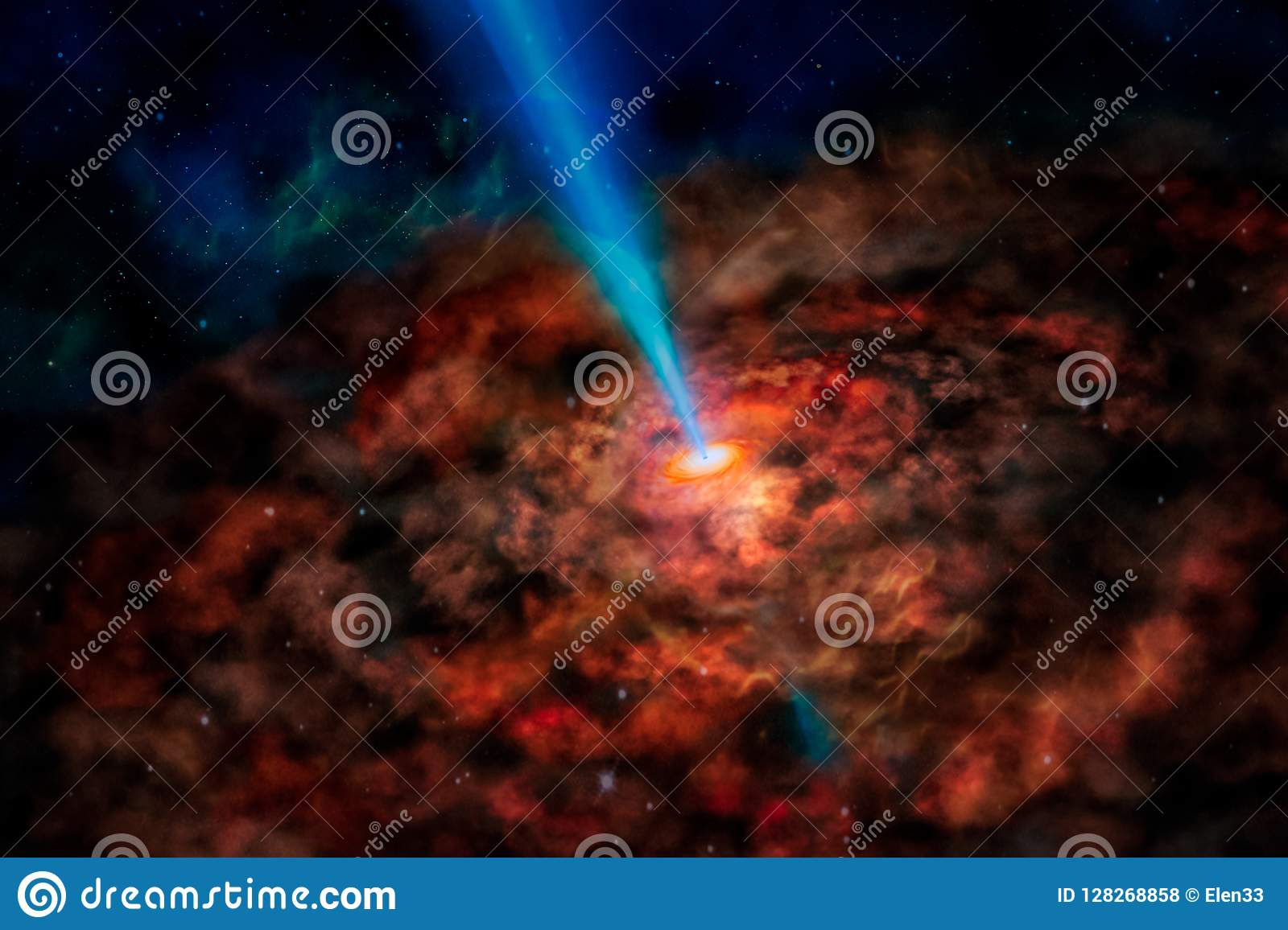Fantasy alien galaxy with red glowing spiral clouds and sun beam.