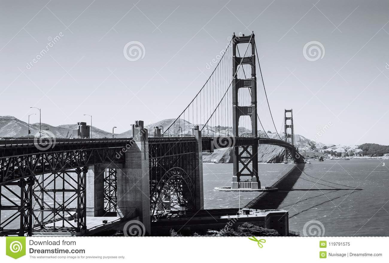 Golden Gate Bridge San Francisco Black And White Image